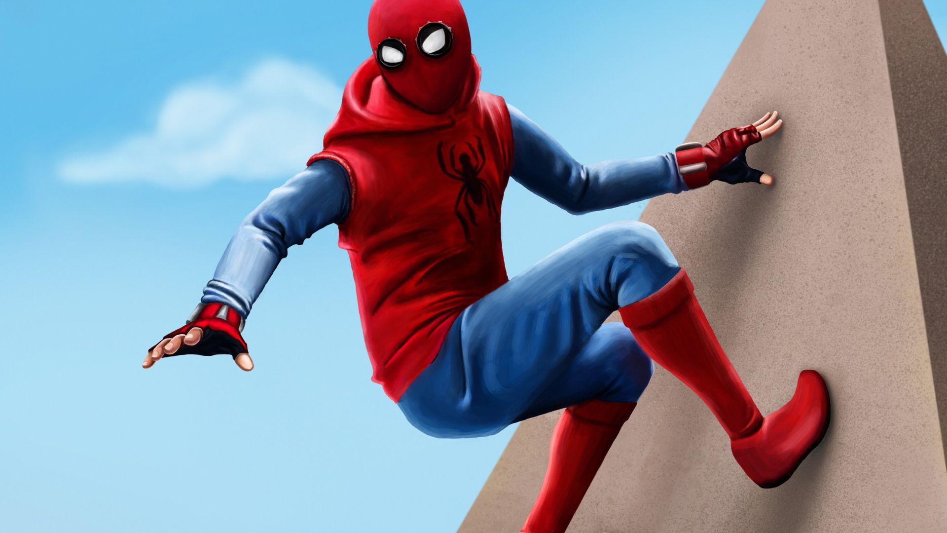 Wallpaper Spider Man: Homecoming, suit homemade, artwork