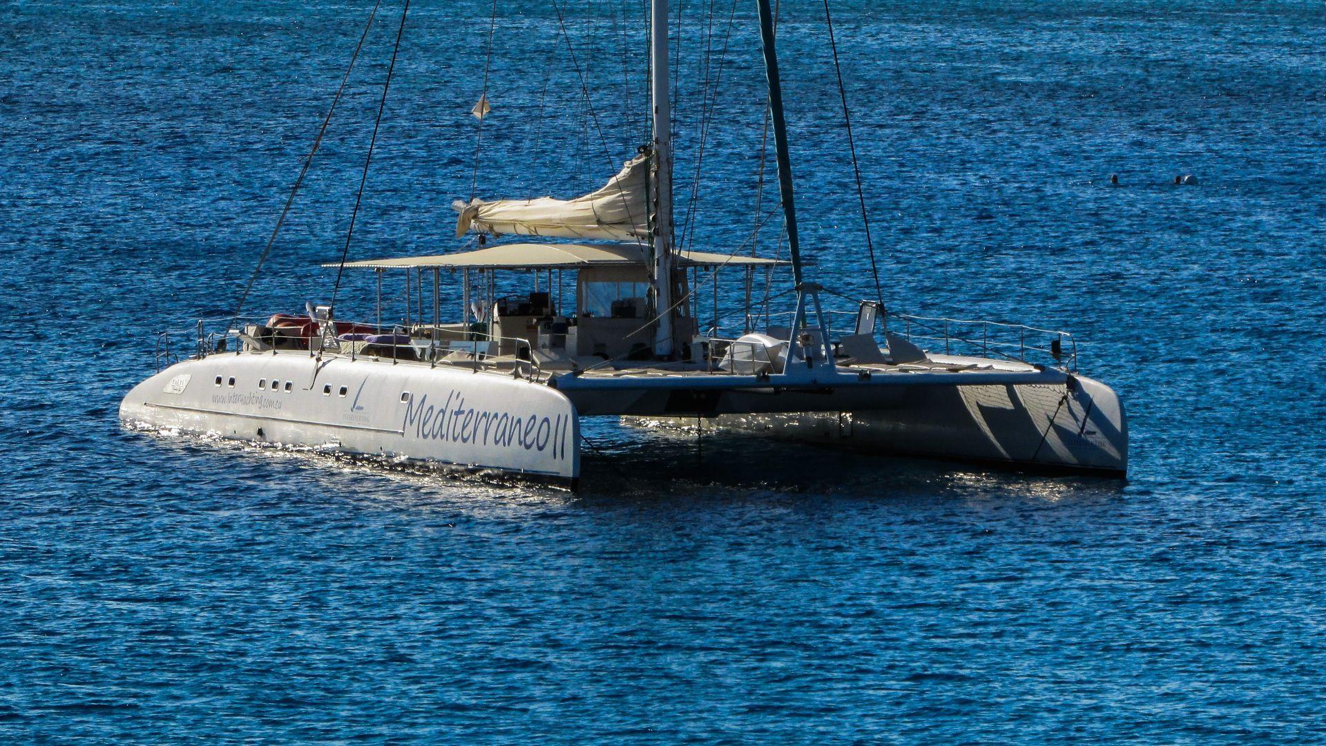 Wallpaper Catamaran boat in sea