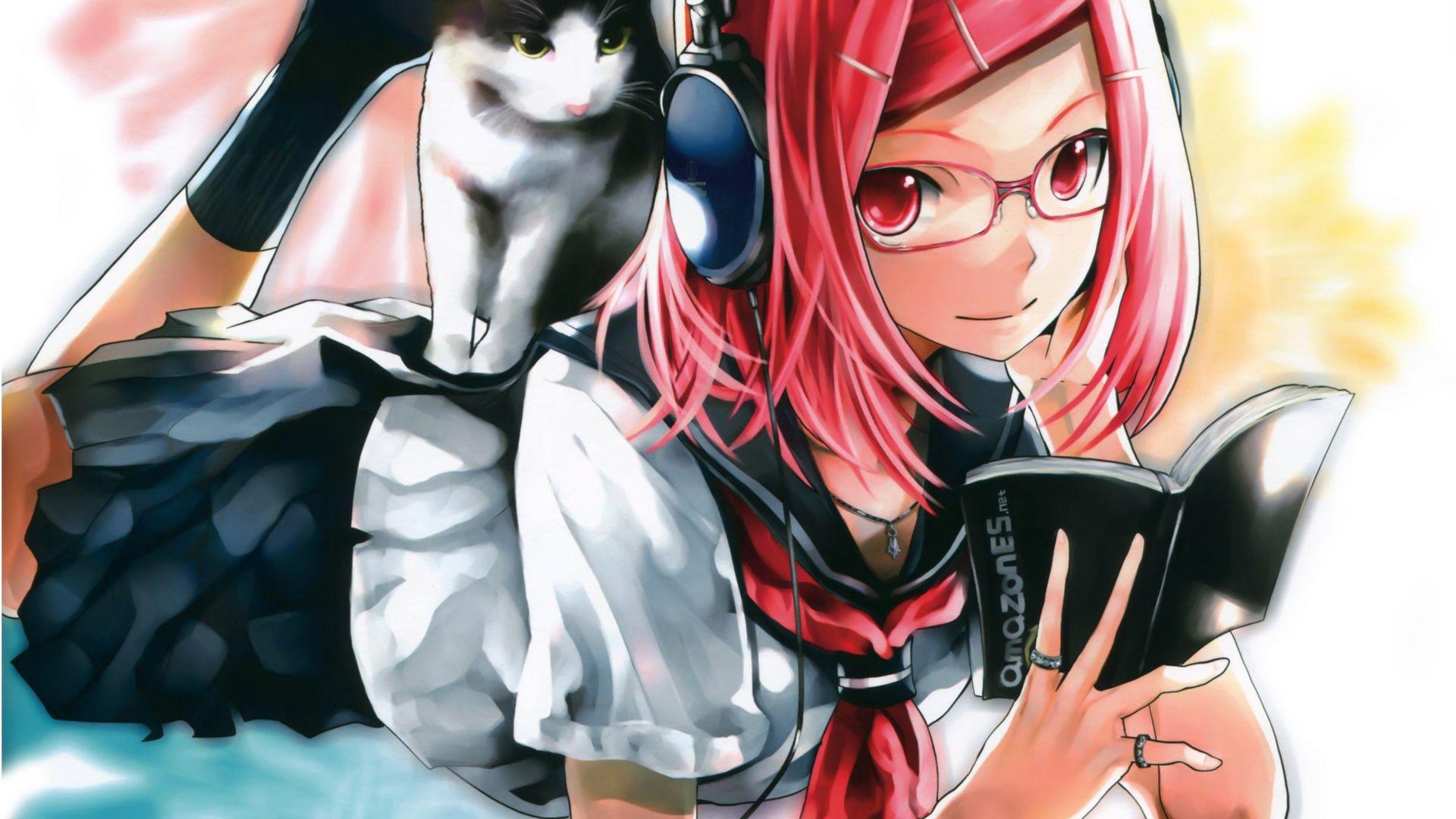 Desktop Wallpaper Original, Red Head Anime Girl, Reading ...