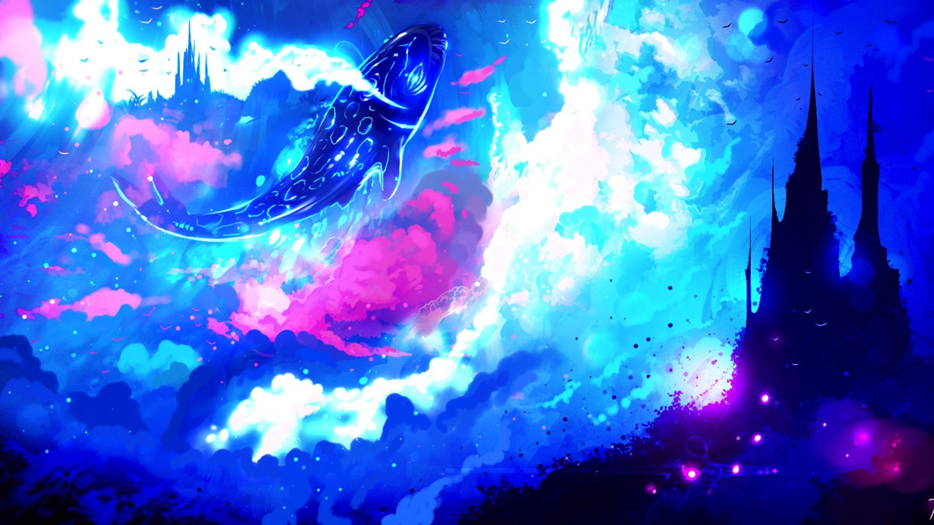 Wallpaper Castle, fish, fantasy, original, anime art