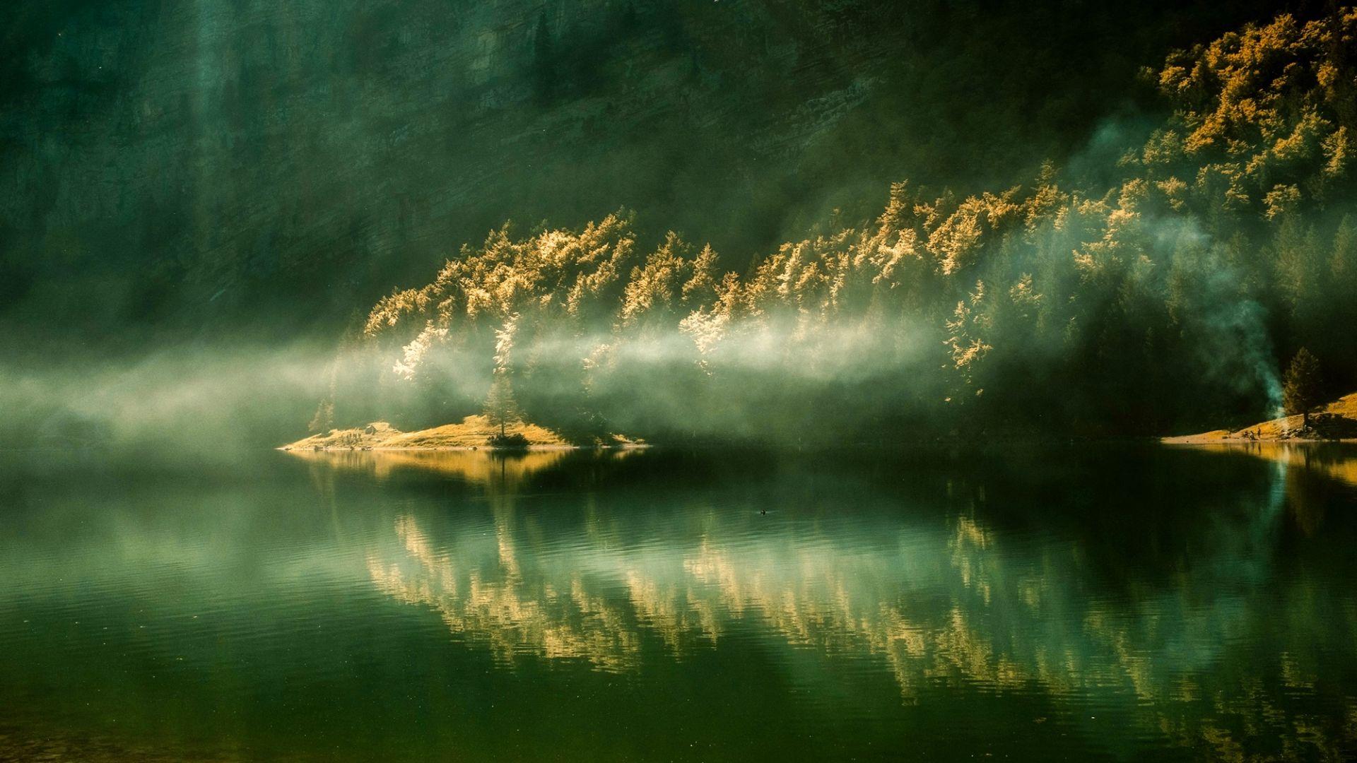 Wallpaper Sunrise, morning, lake, reflections, mist