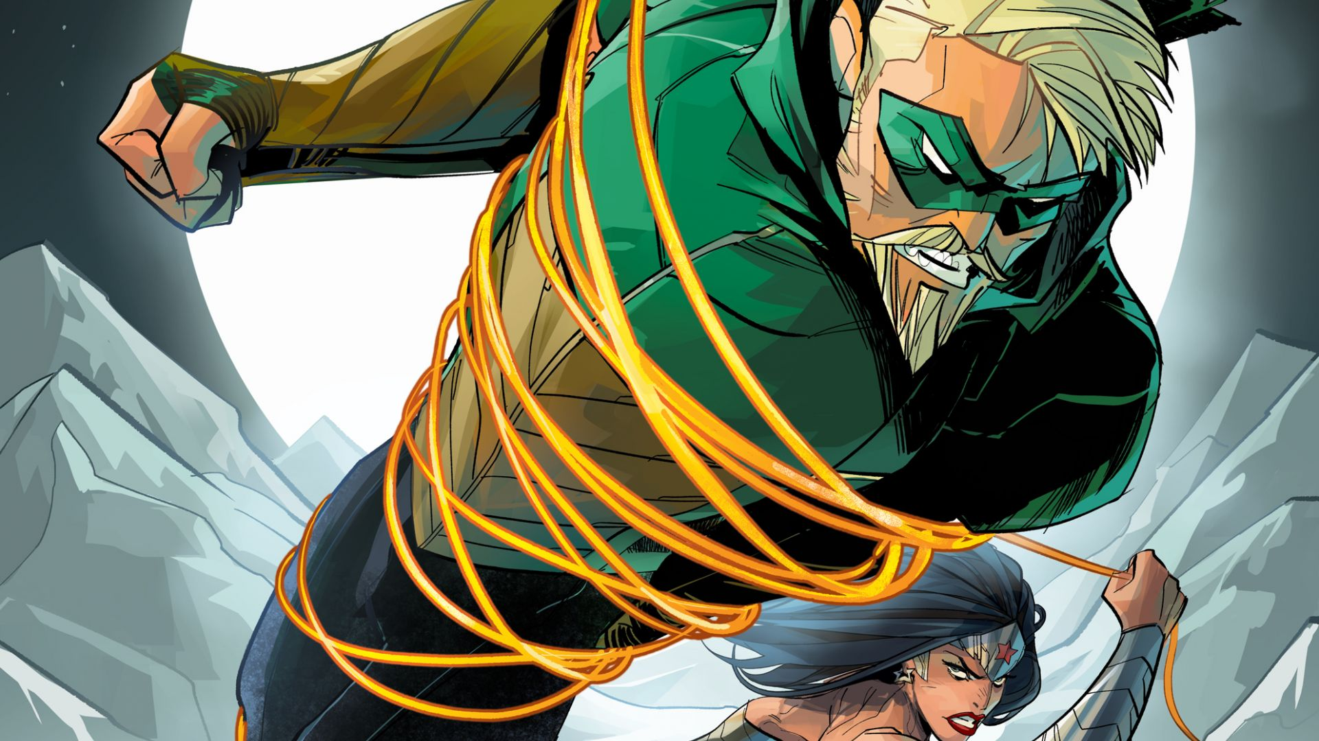Wonder woman, green arrow, superhero, fight