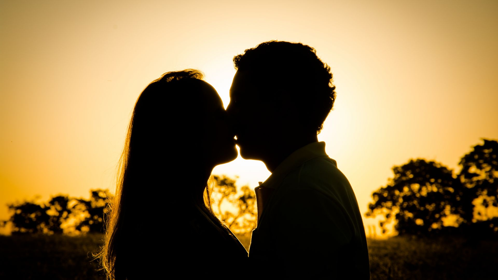 Wallpaper Kiss, couple, love, sunset