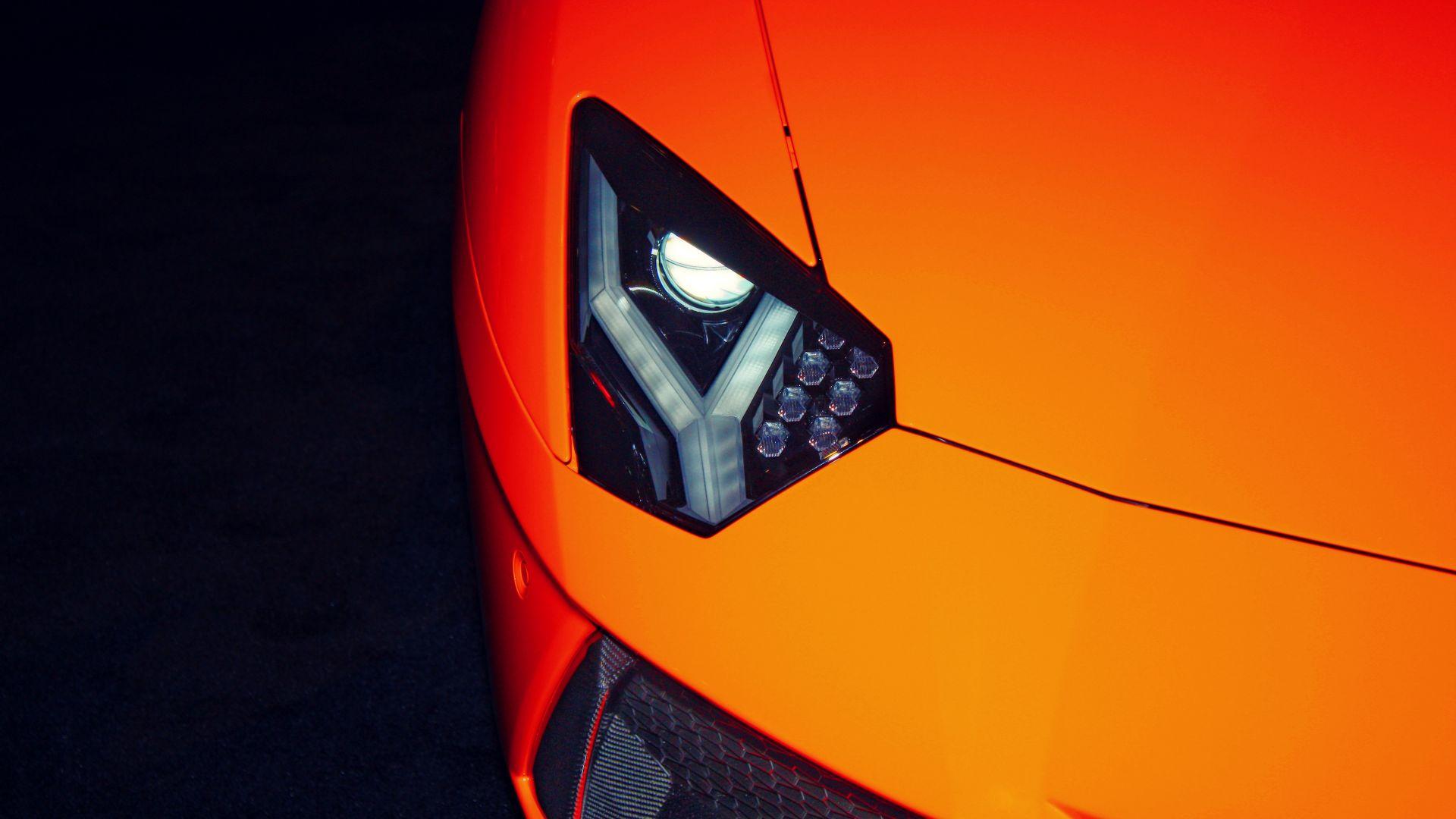 Wallpaper Exotic car, Lamborghini, headlight, 4k