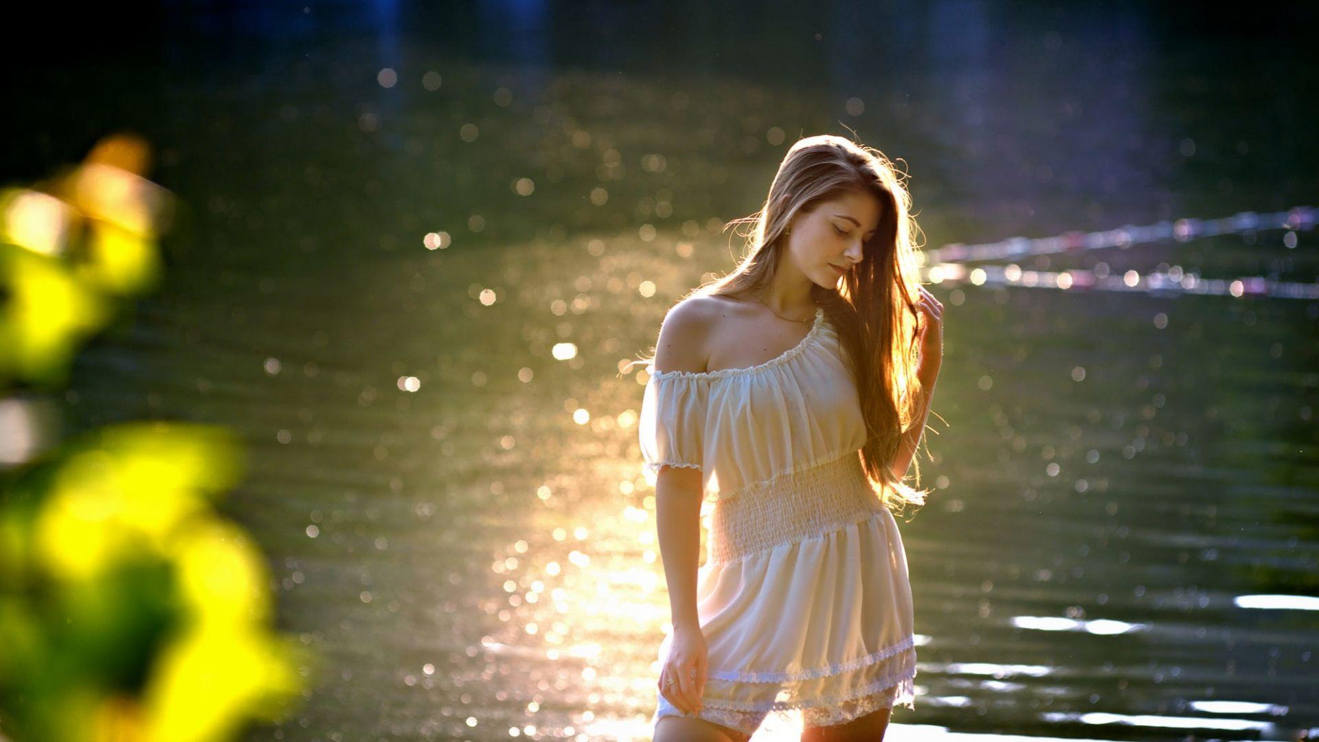 Sunlight, girl model, looking down, white dress