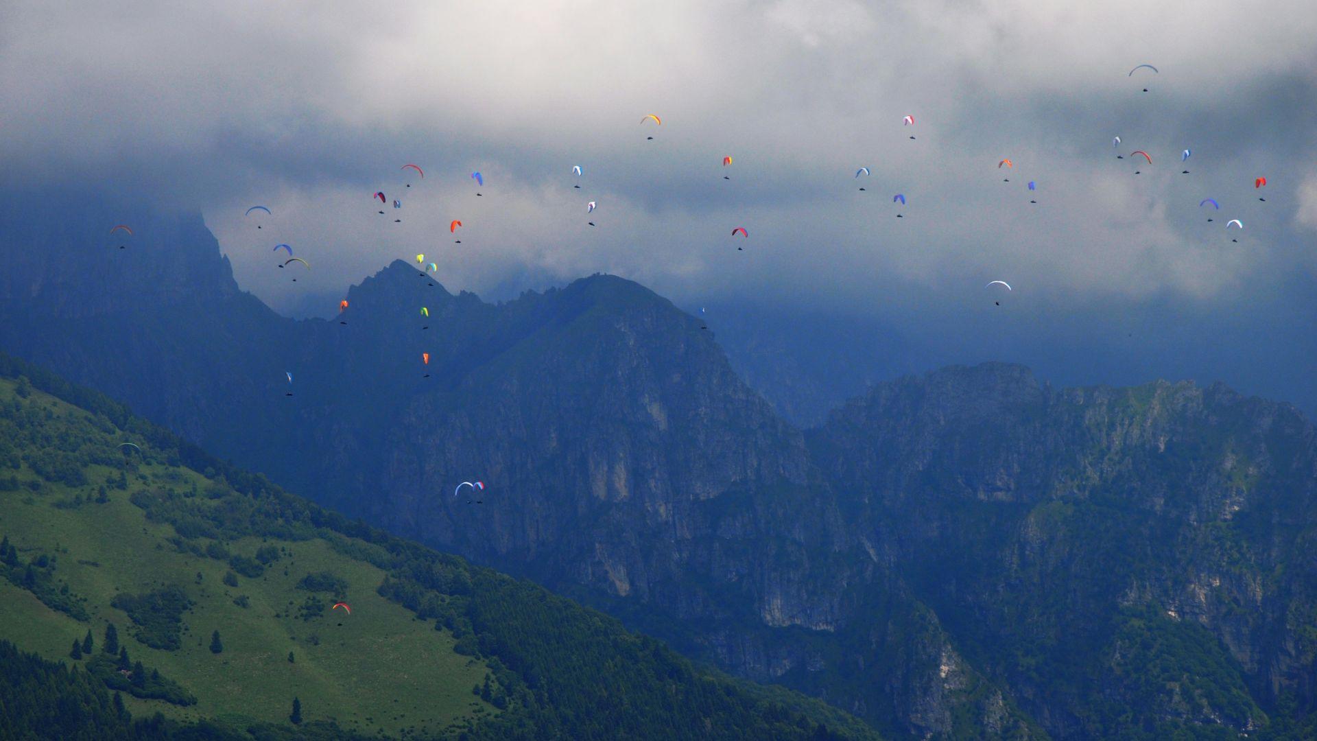 Wallpaper Mountains, paragliding, sports, sky