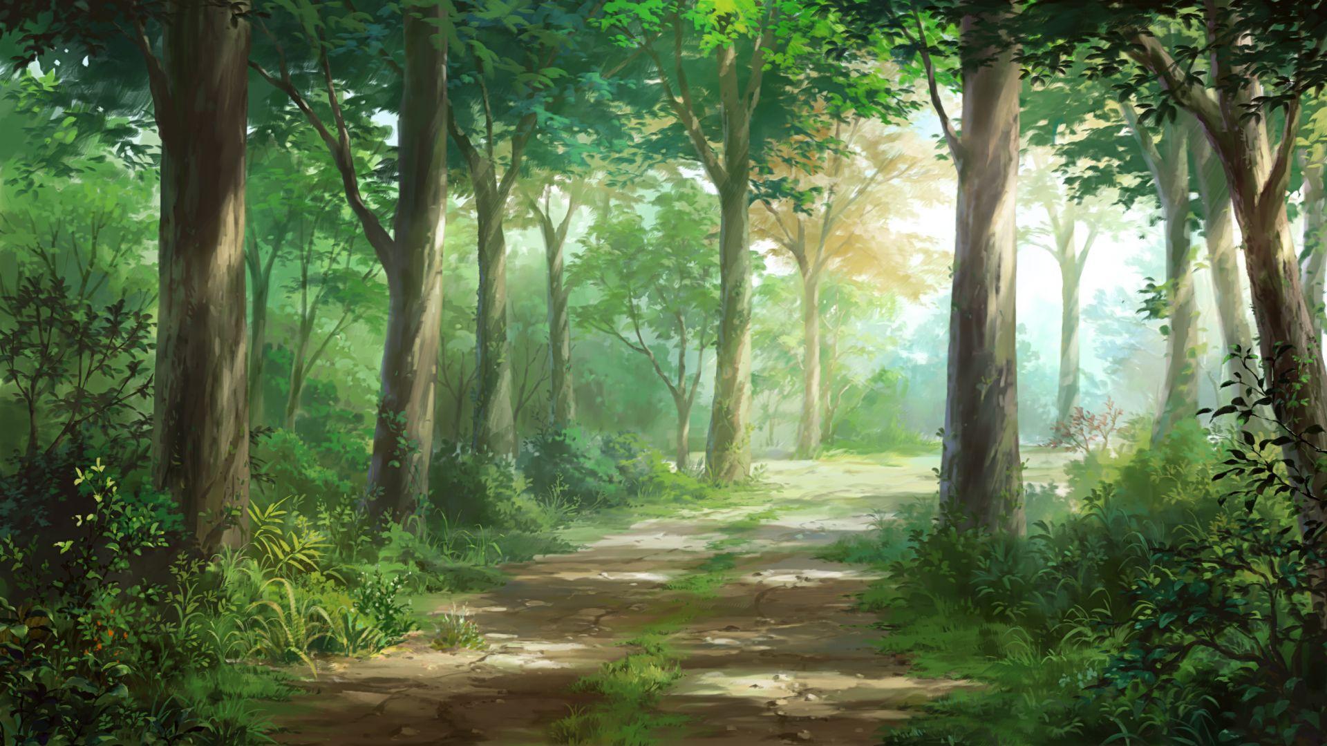 Desktop Wallpaper Anime Original Road Forest Hd Image