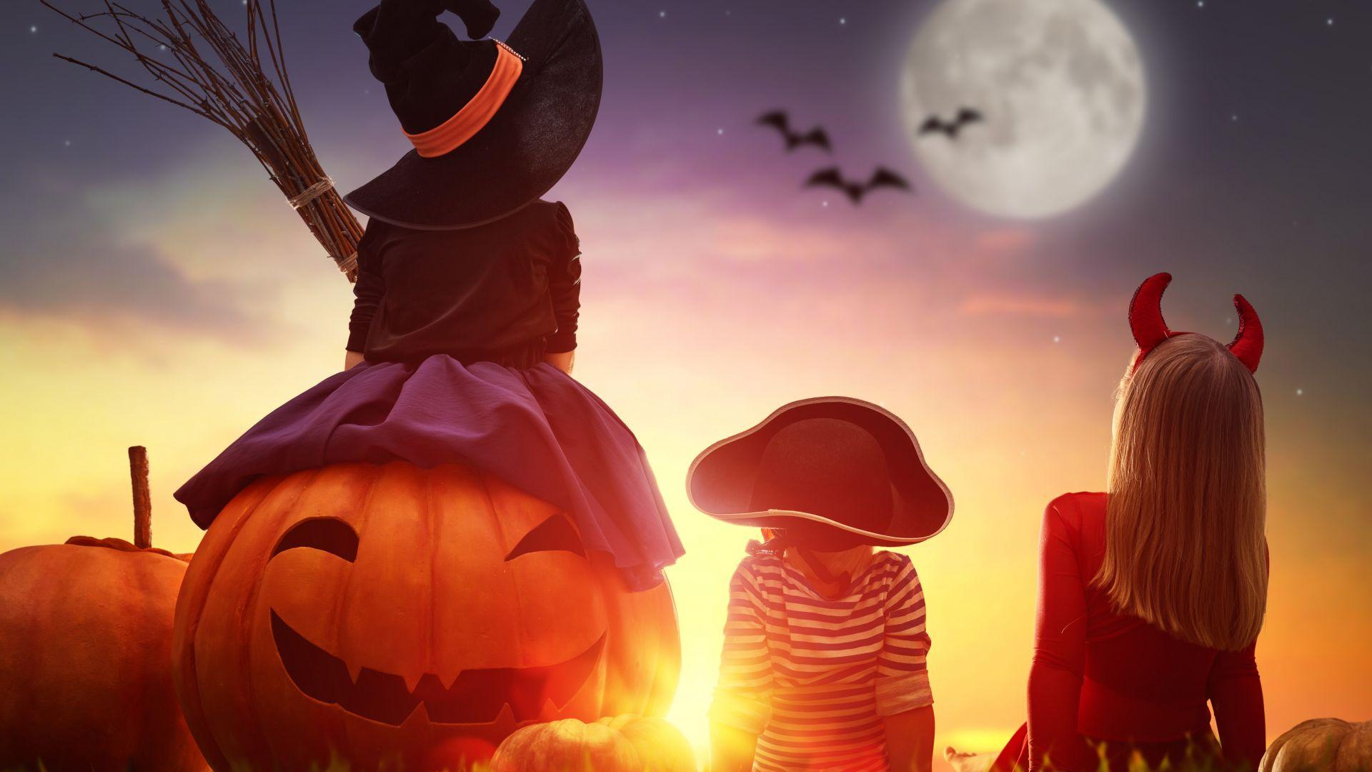 Wallpaper Kids, pumpkin, halloween, costume, sunset, 4k