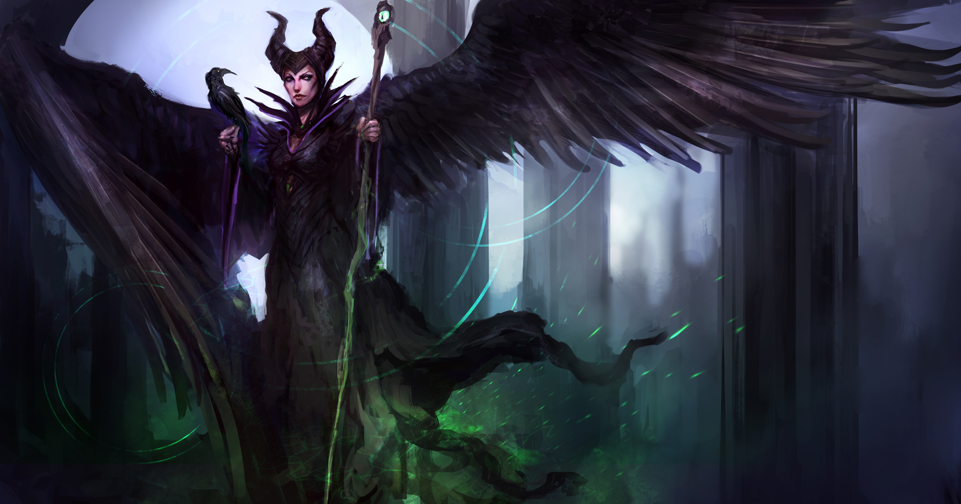 Maleficent Movie 2014 Hd Ipad Iphone Wallpapers: Desktop Wallpaper Maleficent, 2014 Movie, Witch, Raven