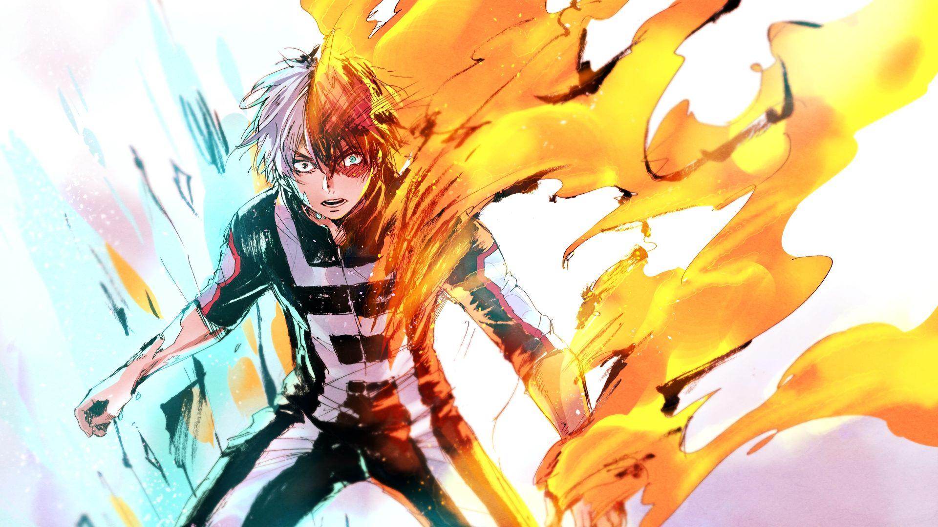 Wallpaper Angry, fight, Shouto Todoroki, anime boy