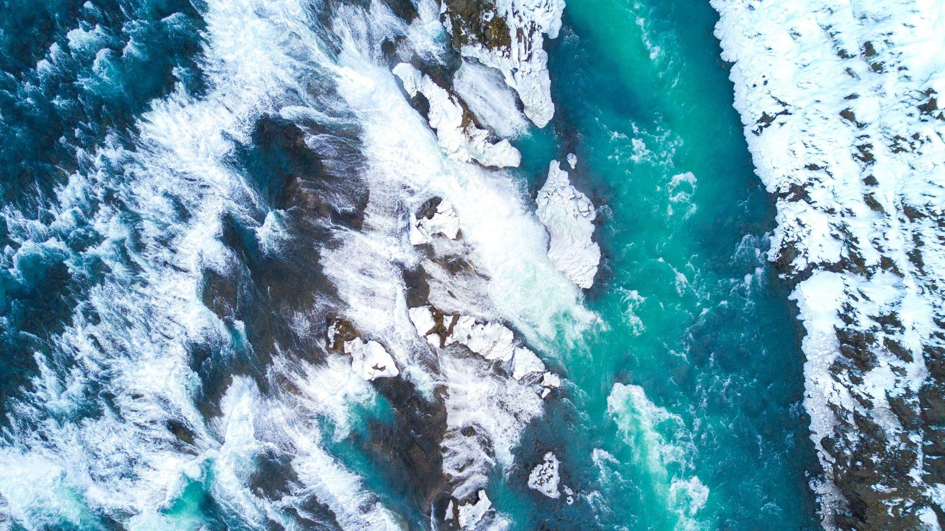 Wallpaper Gullfoss, waterfalls, iceland, river, aerial view, 4k