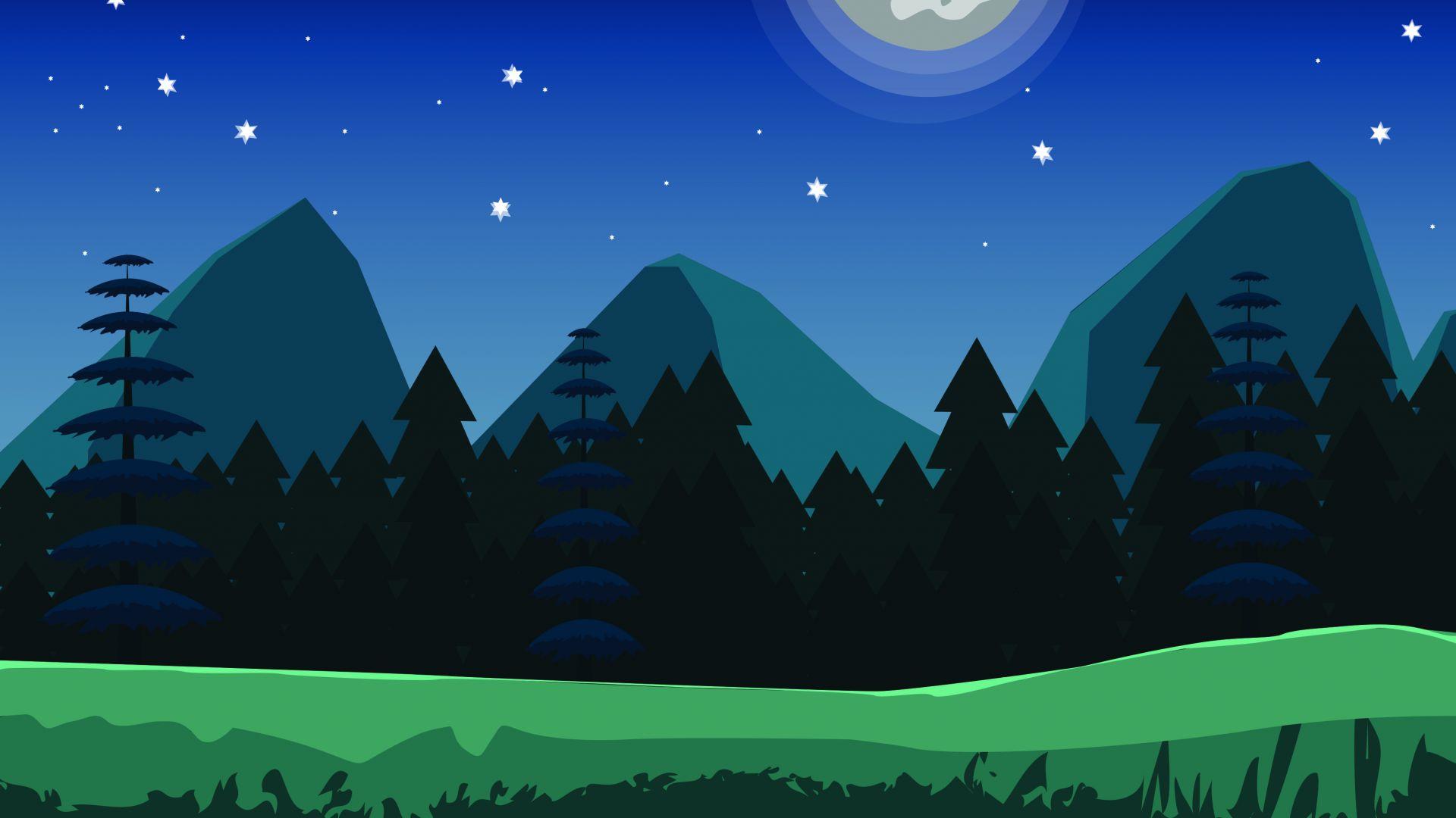 digital art mountains trees 4k