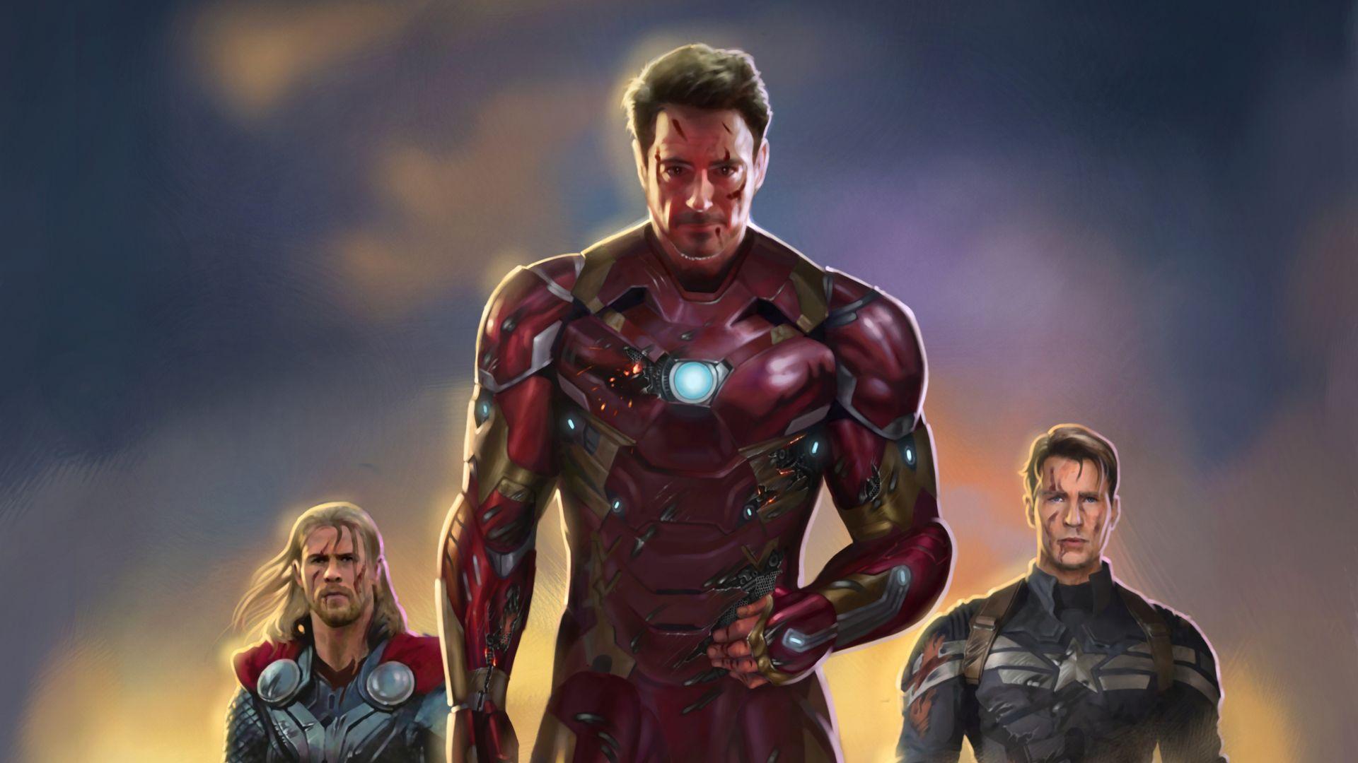 Wallpaper Fan Art 4k Pubattlegrounds: Desktop Wallpaper Iron Man, Captain America, Thor, Fan Art
