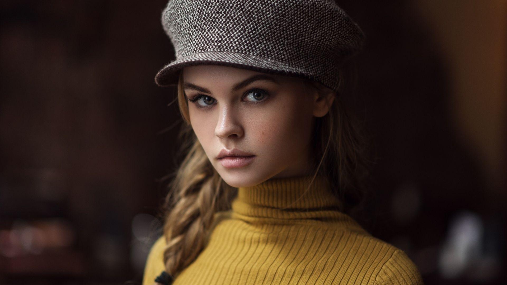 Wallpaper Anastasia Shcheglova, girl model, cap