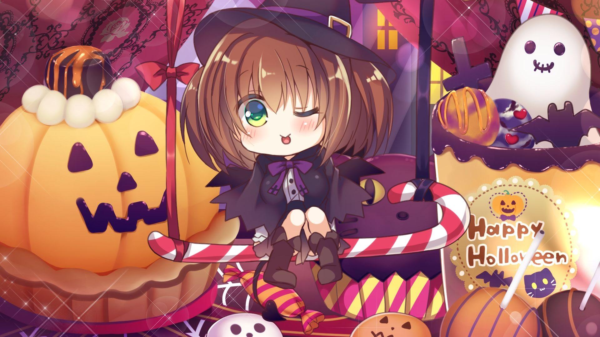 Wallpaper Cute, little witch, 2017,  anime girl, halloween