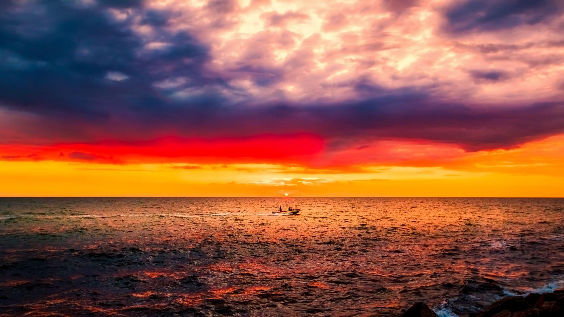 Wallpaper Denmark, sunset, sea, clouds, skyline, boat