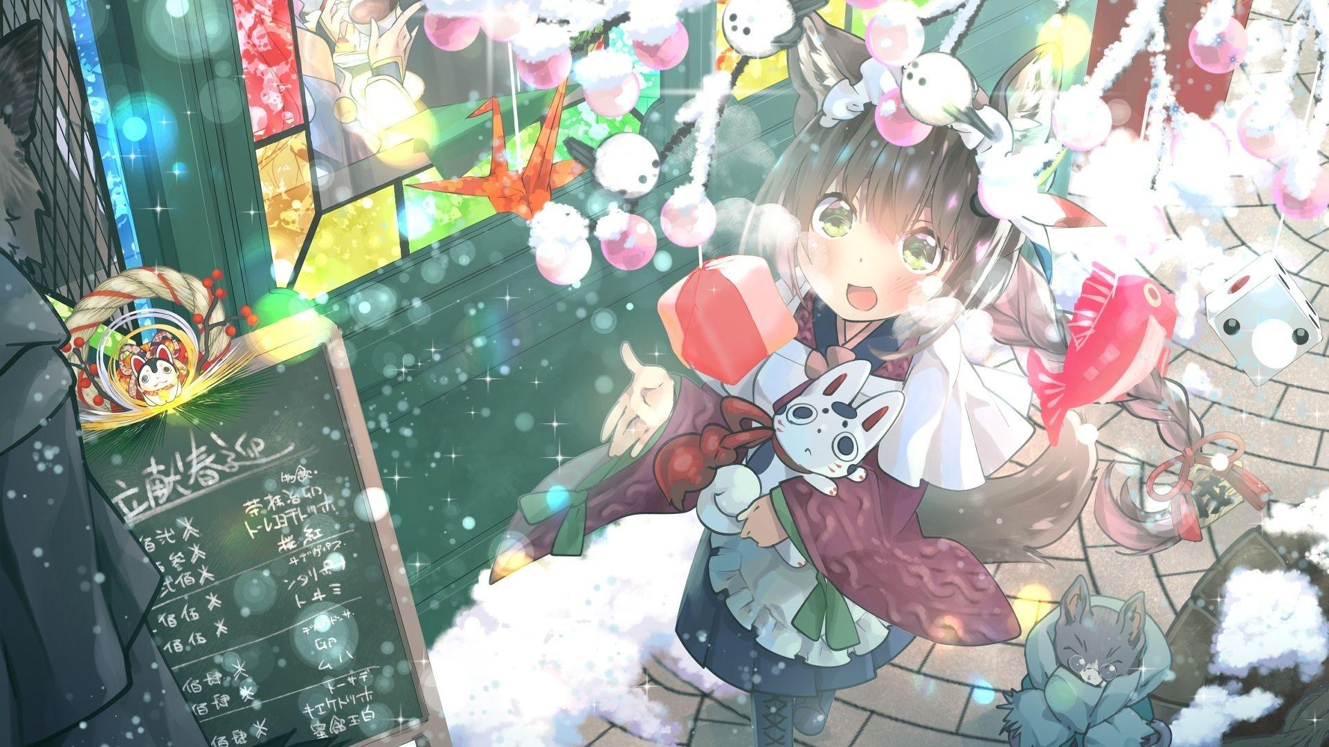 Desktop Wallpaper Christmas, Anime Girl, Happiness, Hd Image ...
