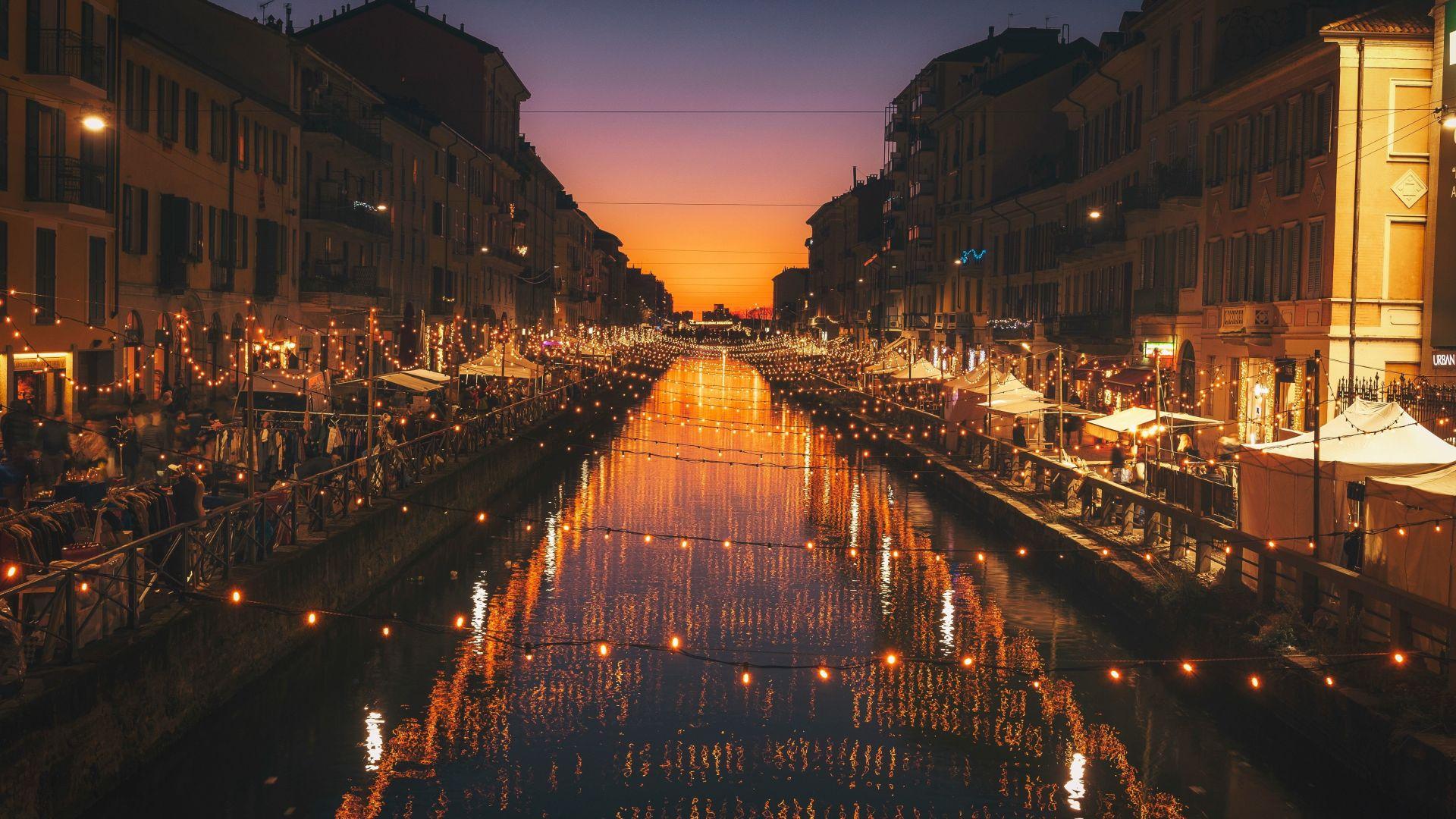 Desktop Wallpaper Milan City River Night Lights
