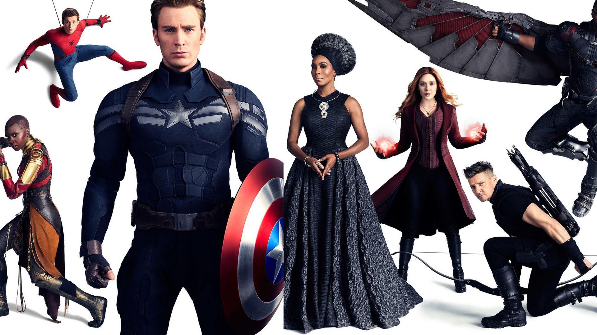 Wallpaper Avengers: Infinity War, captain america, nick fury, hawkeye, doctor strange, falcon, wanda, maximoff, spider man, 4k
