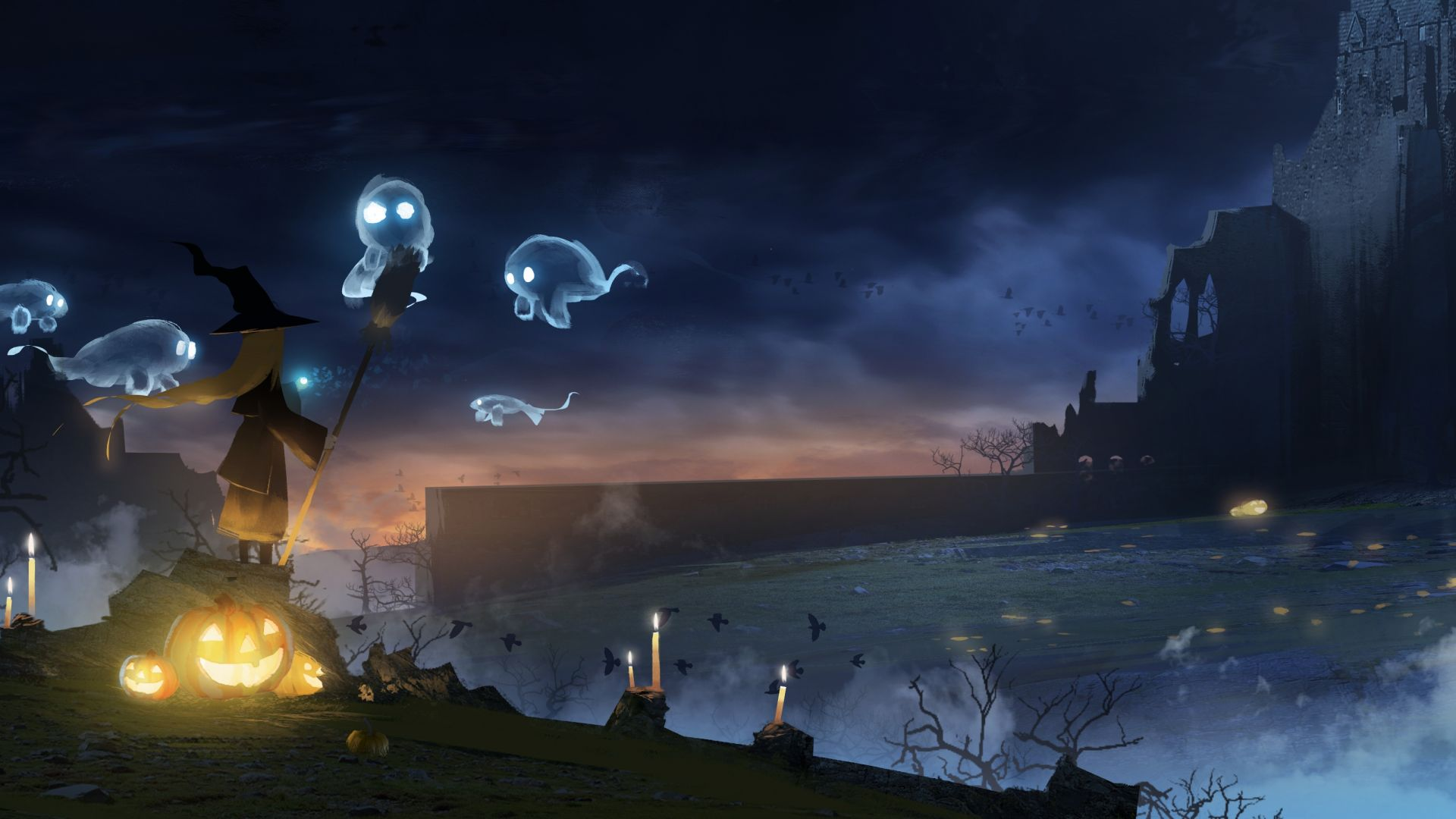 Wallpaper Witch, anime girl, ghost, halloween, night, 4k