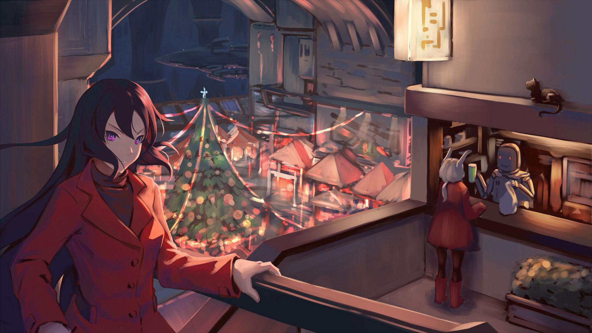 christmas anime girls holiday