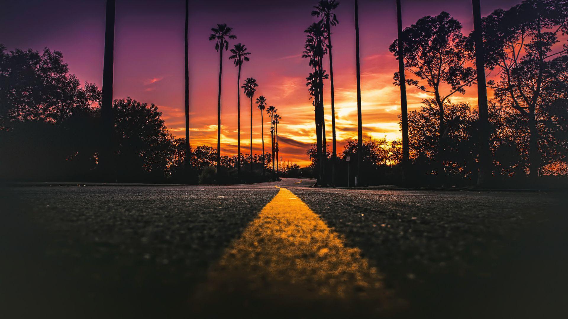 Wallpaper USA, road, highway, sunset, close up, 4k
