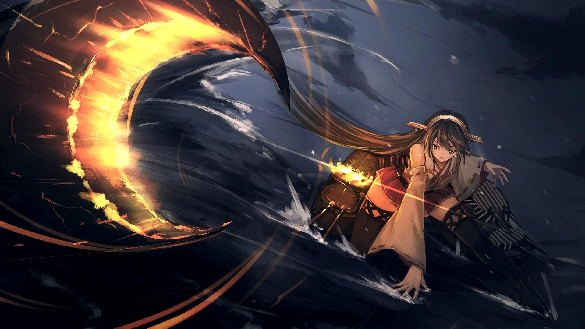 Wallpaper Haruna, kancolle, fight, anime girl