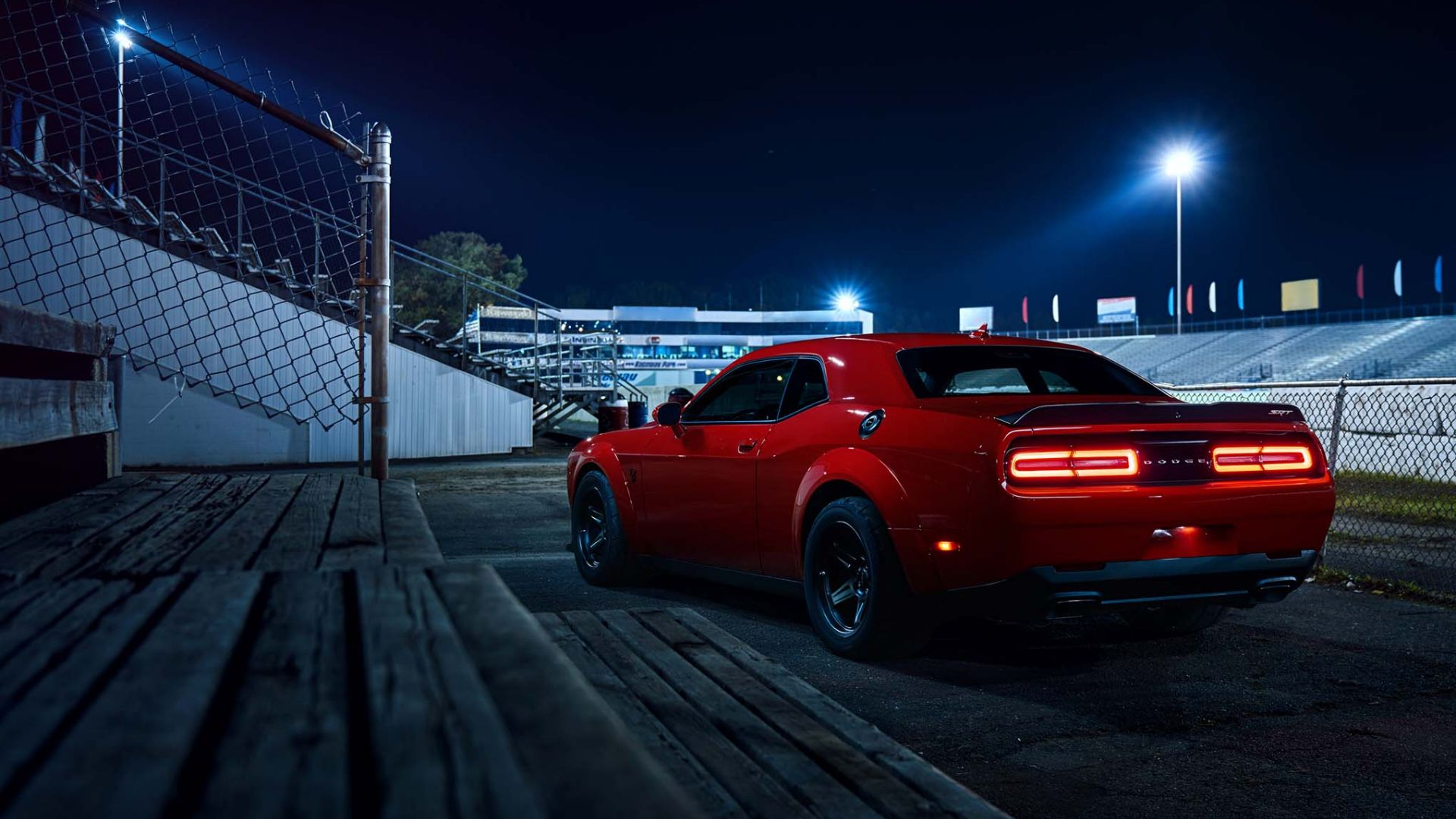 Wallpaper Dodge Challenger SRT, red car, night