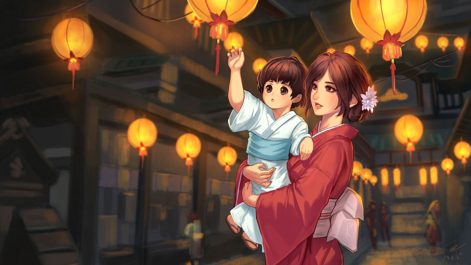 Wallpaper Child and mother, love, anime, original