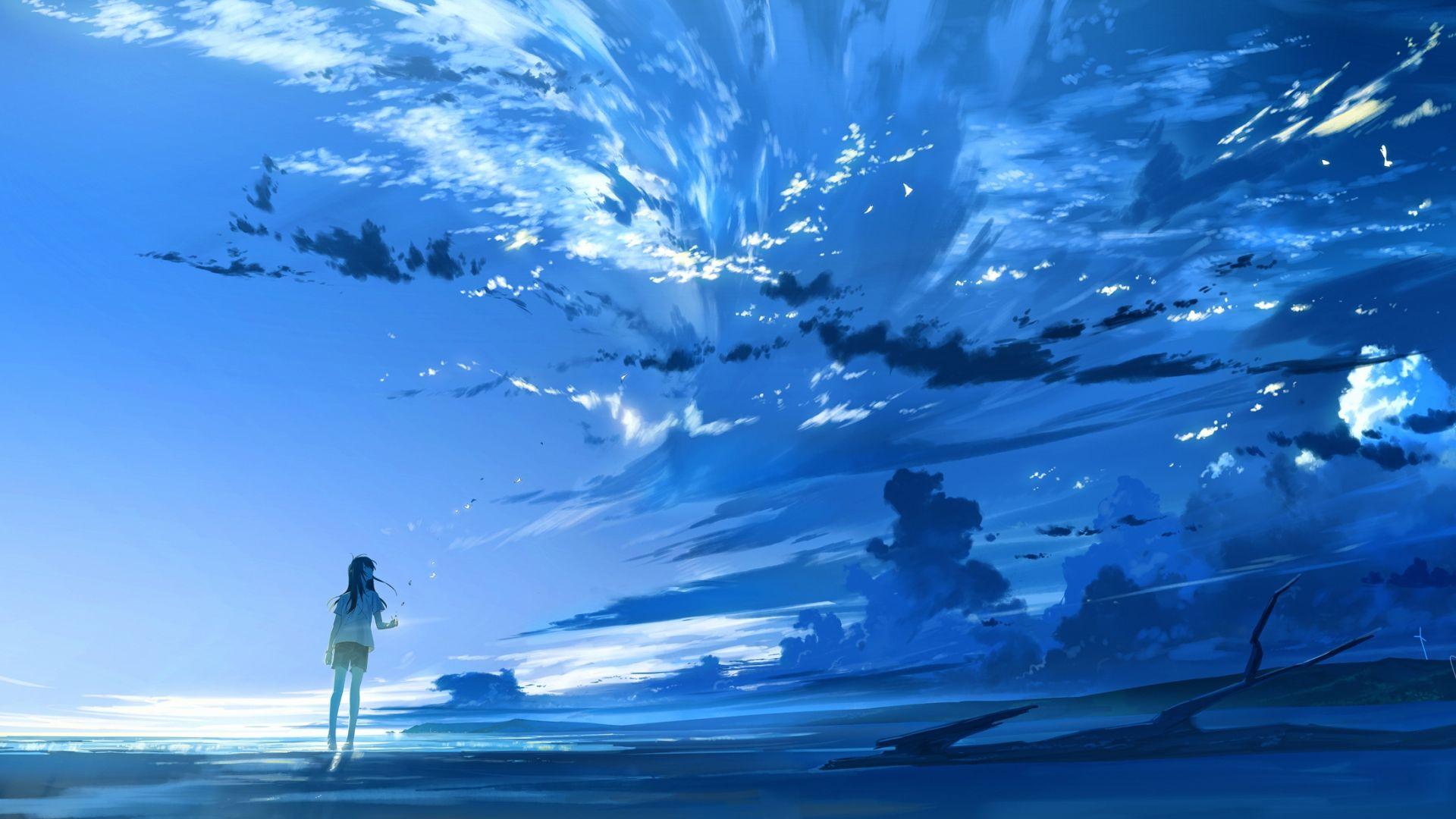 Wallpaper Anime girl, original, outdoor, clouds