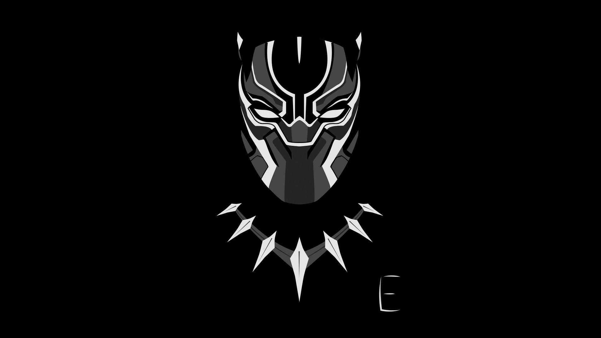 Wallpaper Black Panther, face, minimal, art, 4k