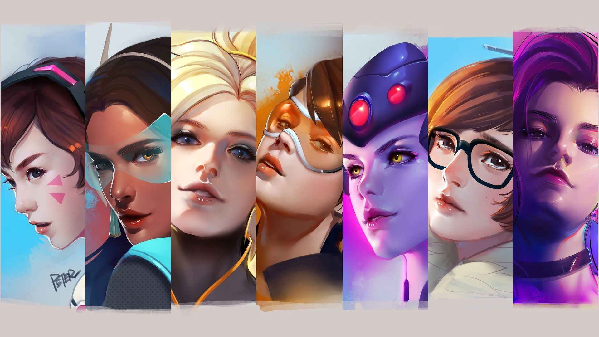 Wallpaper Overwatch, all girl, collage, D.VA, artwork, mercy, tracer, Widowmaker, 4k