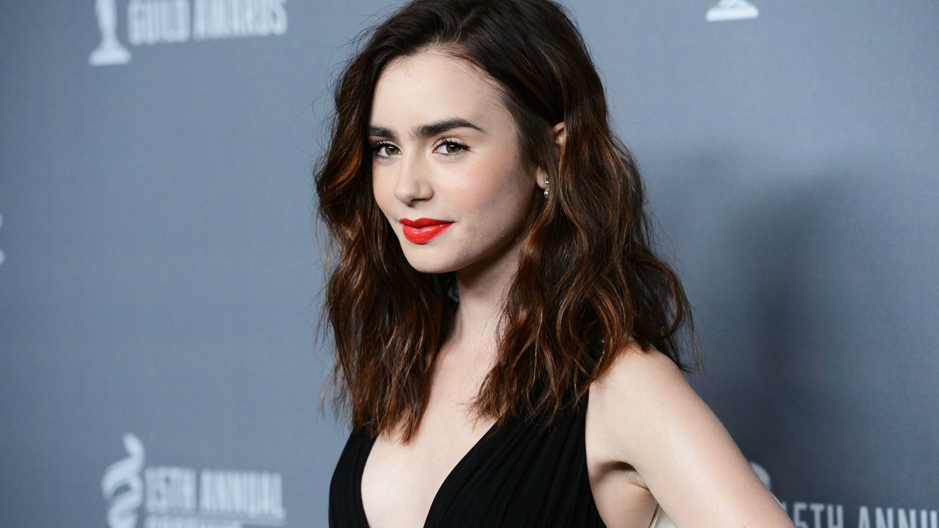 Wallpaper Beautiful, Lily Collins, red lipstick, celebrity