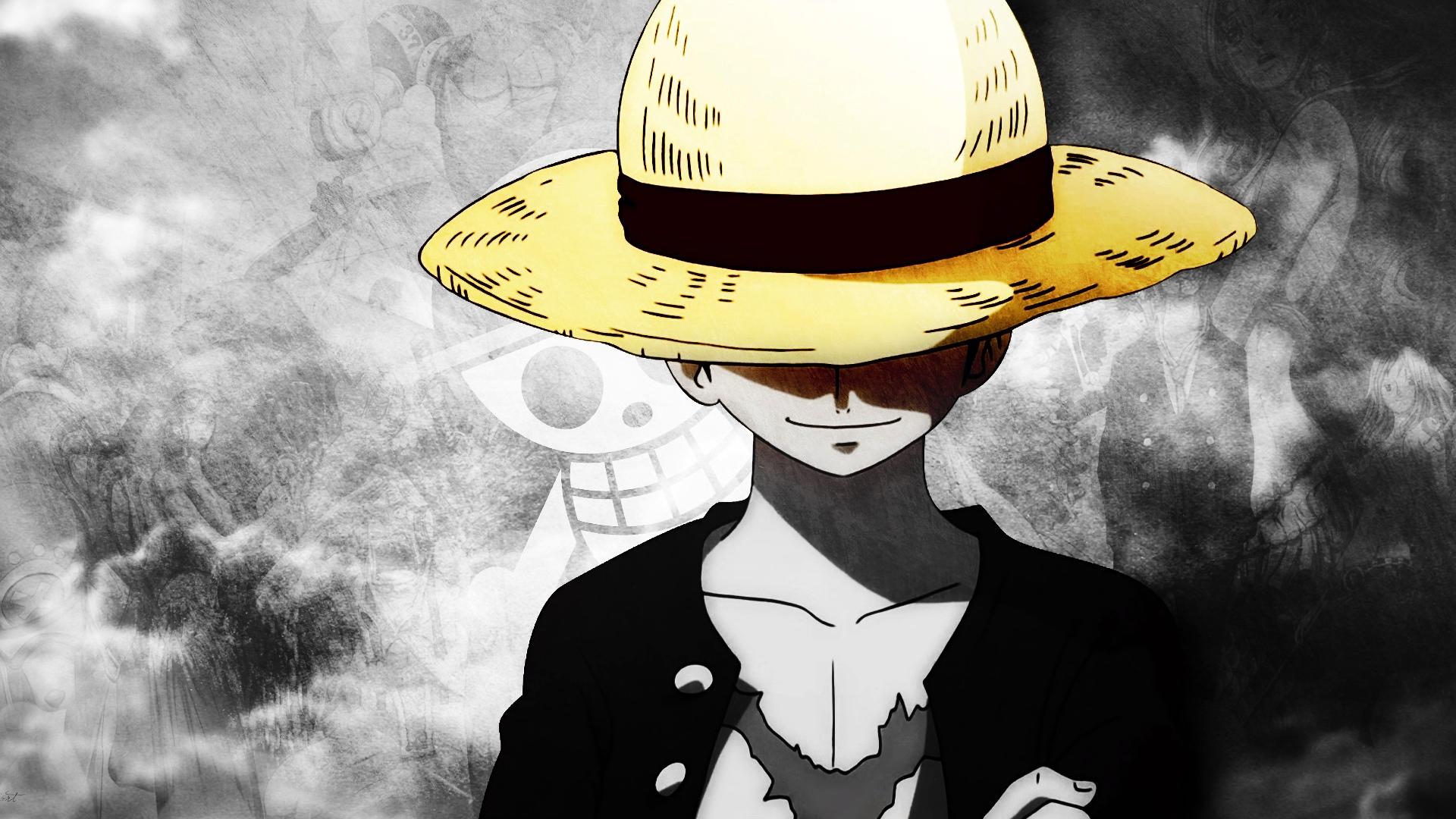 Wallpaper Monkey D. Luffy, hat, anime boy, One Piece