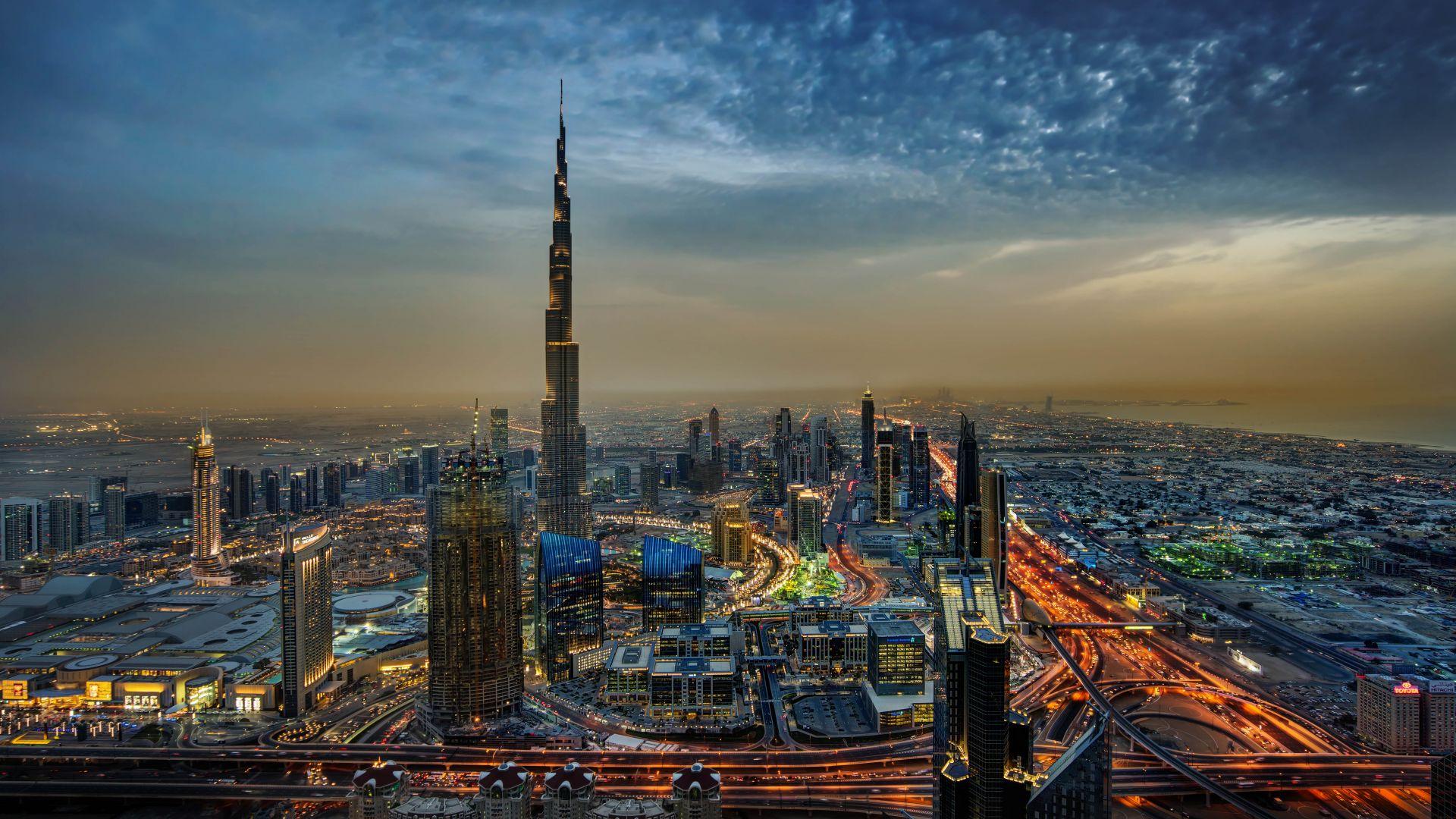 Wallpaper Burj Khalifa, dubai, city, night, buildings, aerial view