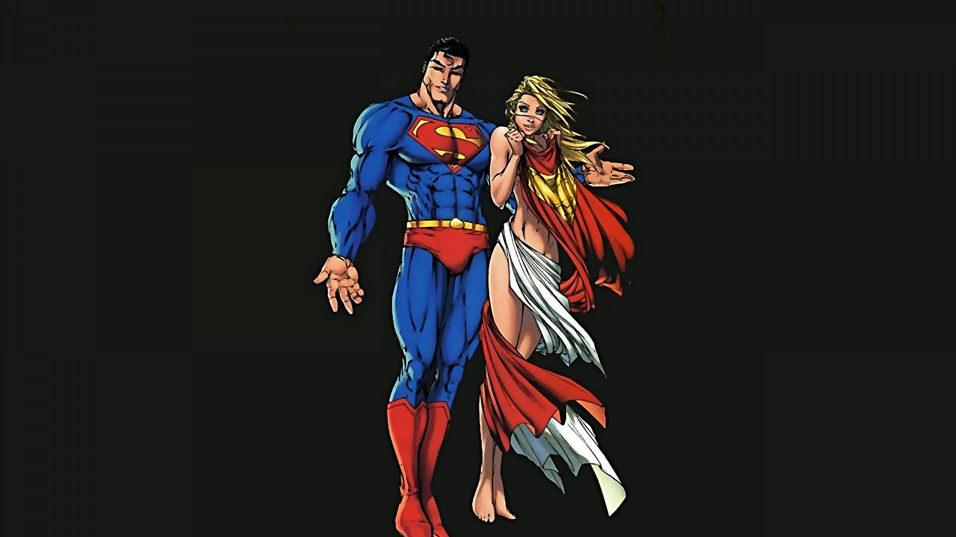 Wallpaper Super man and super girl minimalism, artwork