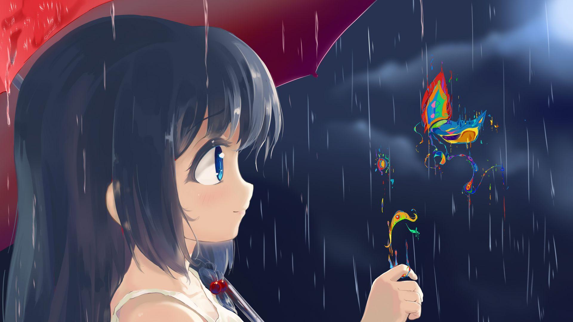 Rain Anime Girl Original Butterfly Wallpaper