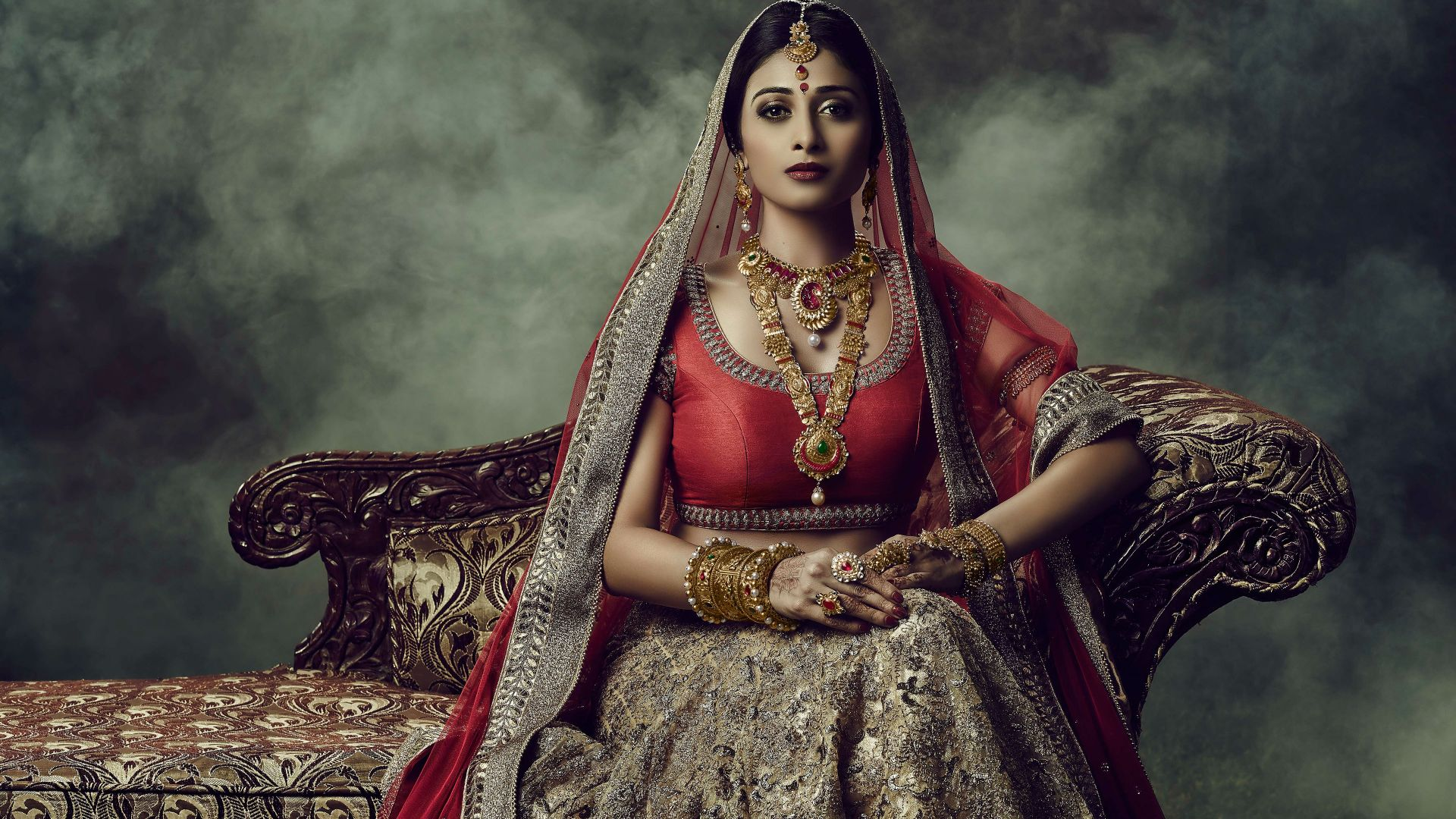 Wallpaper Indian wedding dress, girl model, sofa
