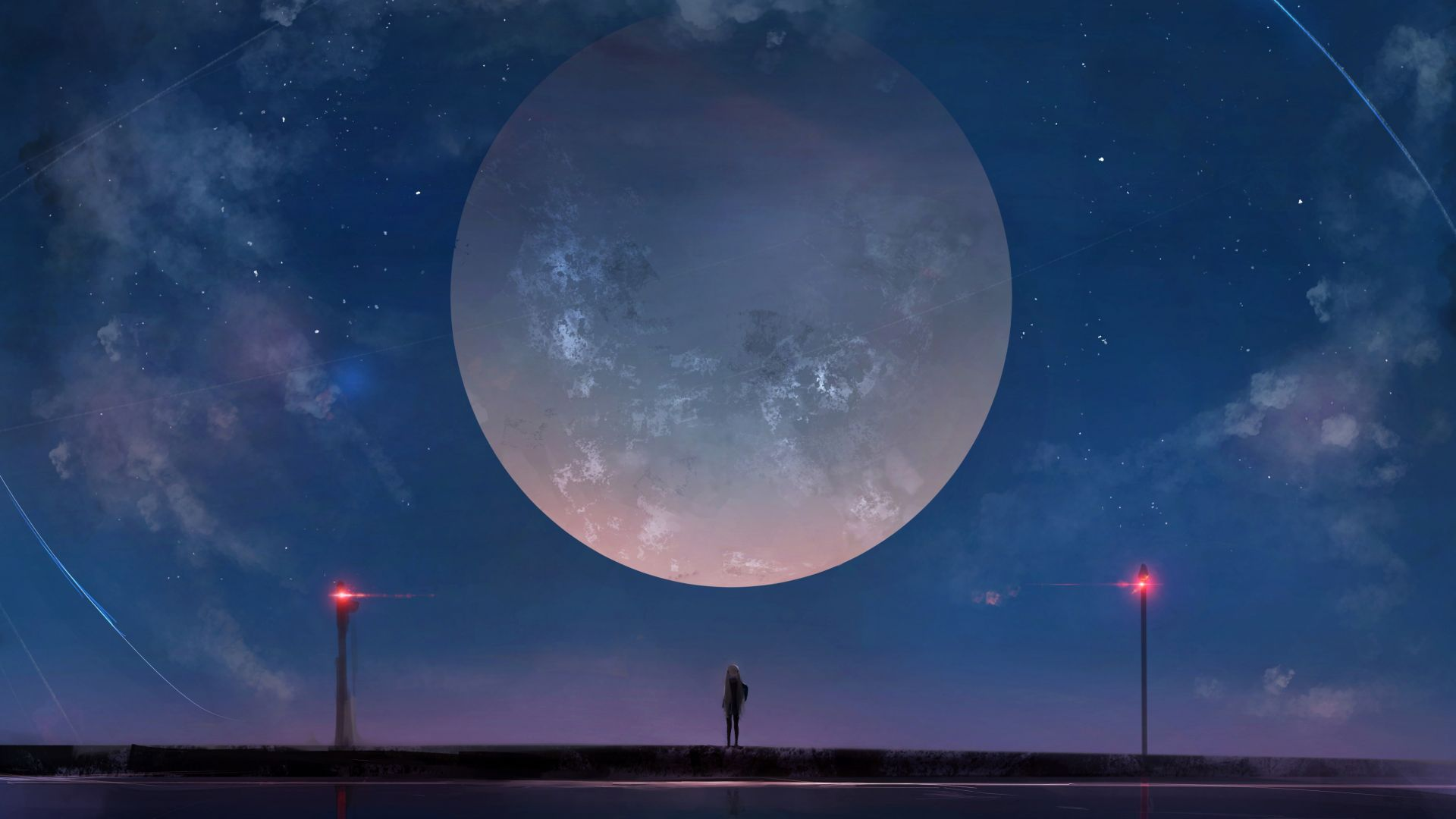 Wallpaper Big moon, anime girl, night, outdoor, 4k