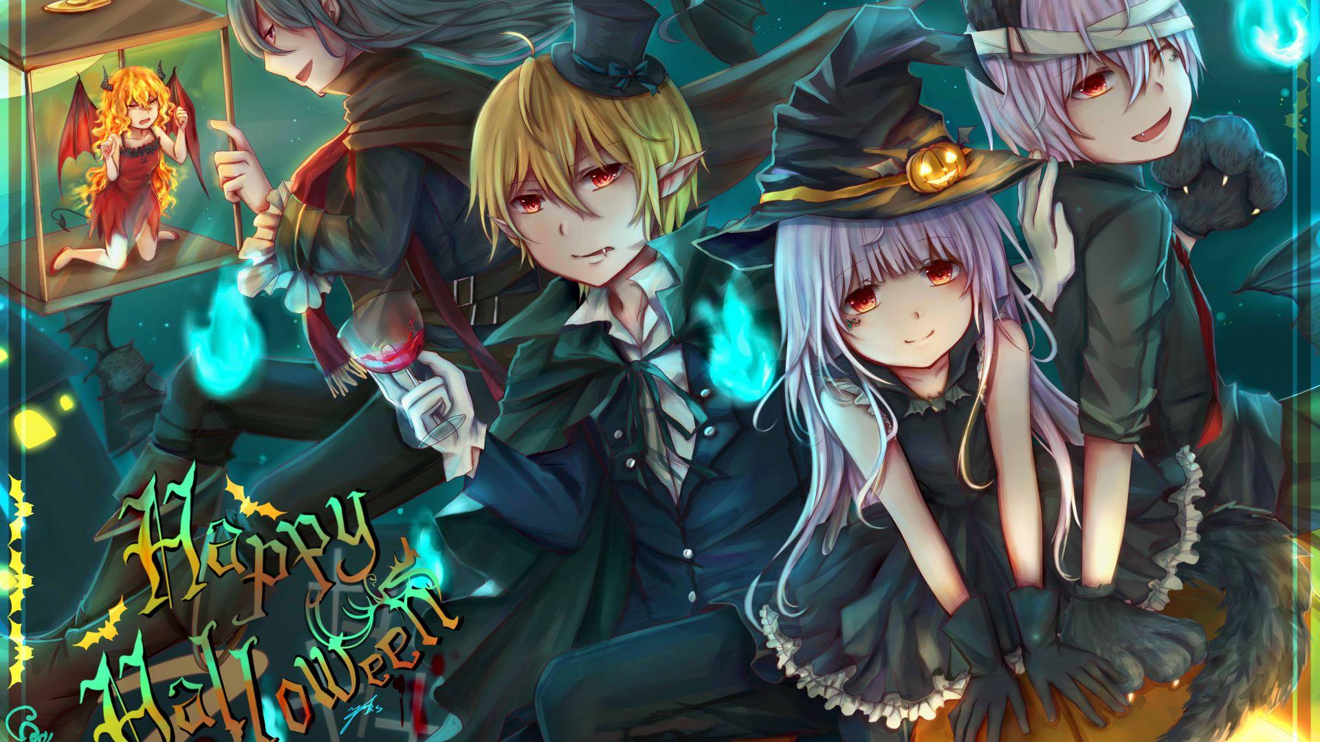 Wallpaper Anime, halloween, anime girls and boys, friends, 4k