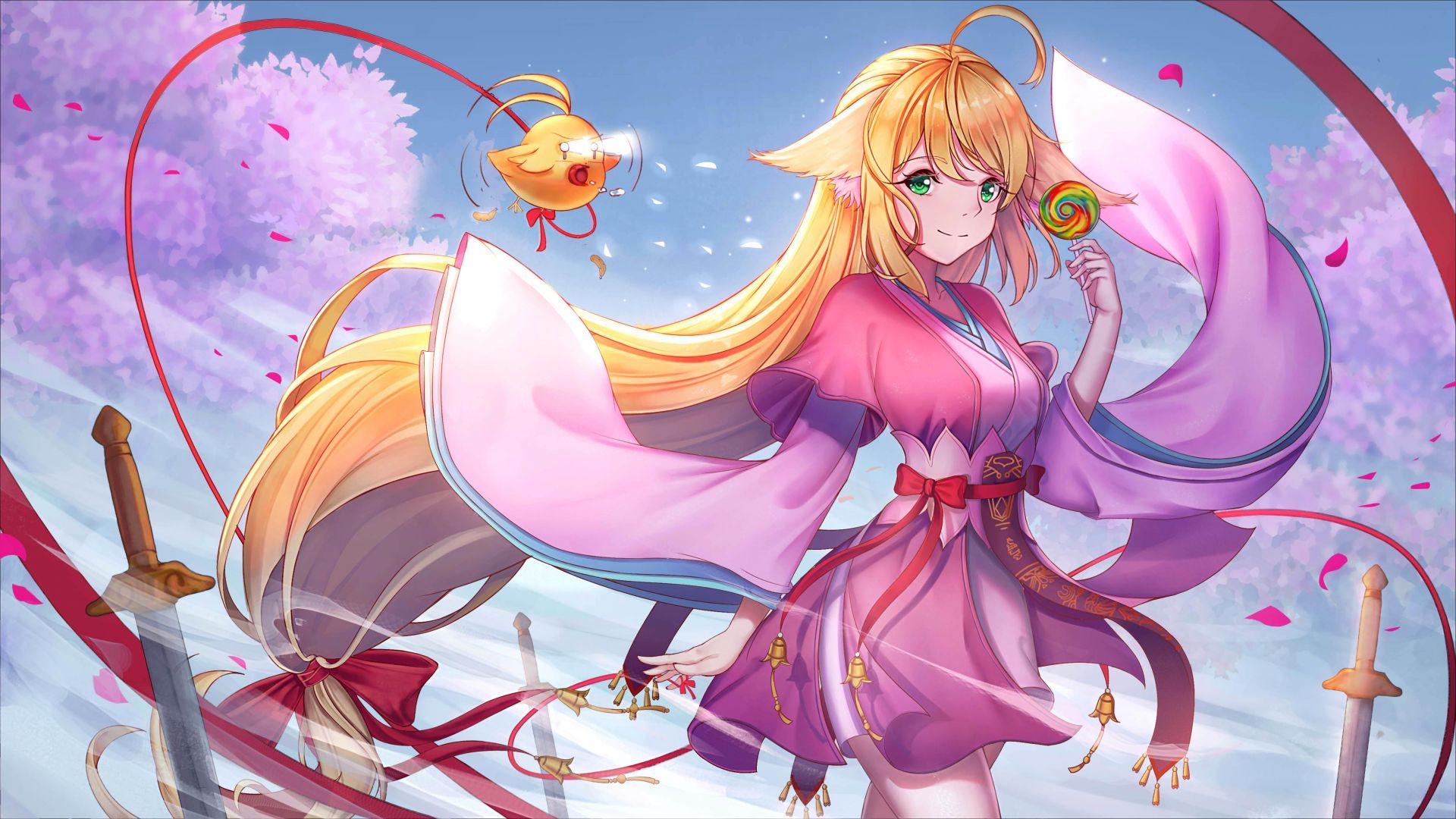 desktop wallpaper tushan susu  fox spirit matchmaker  beautiful anime girl  blonde  4k  hd image