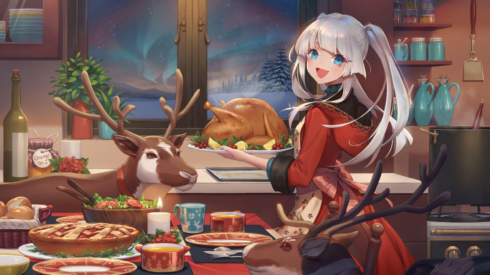 Wallpaper Dinner, anime girl, Christmas