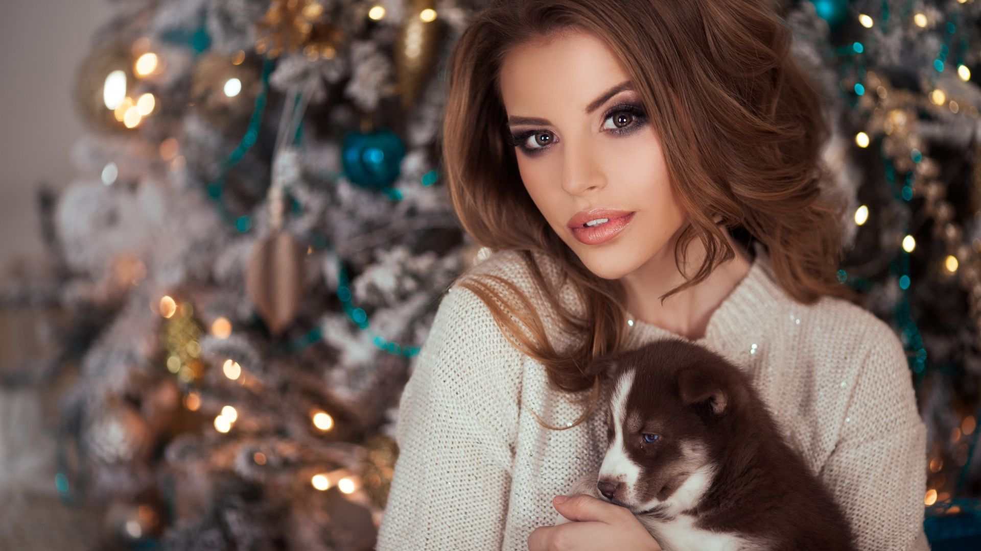 Brunette, woman and puppy, girl model