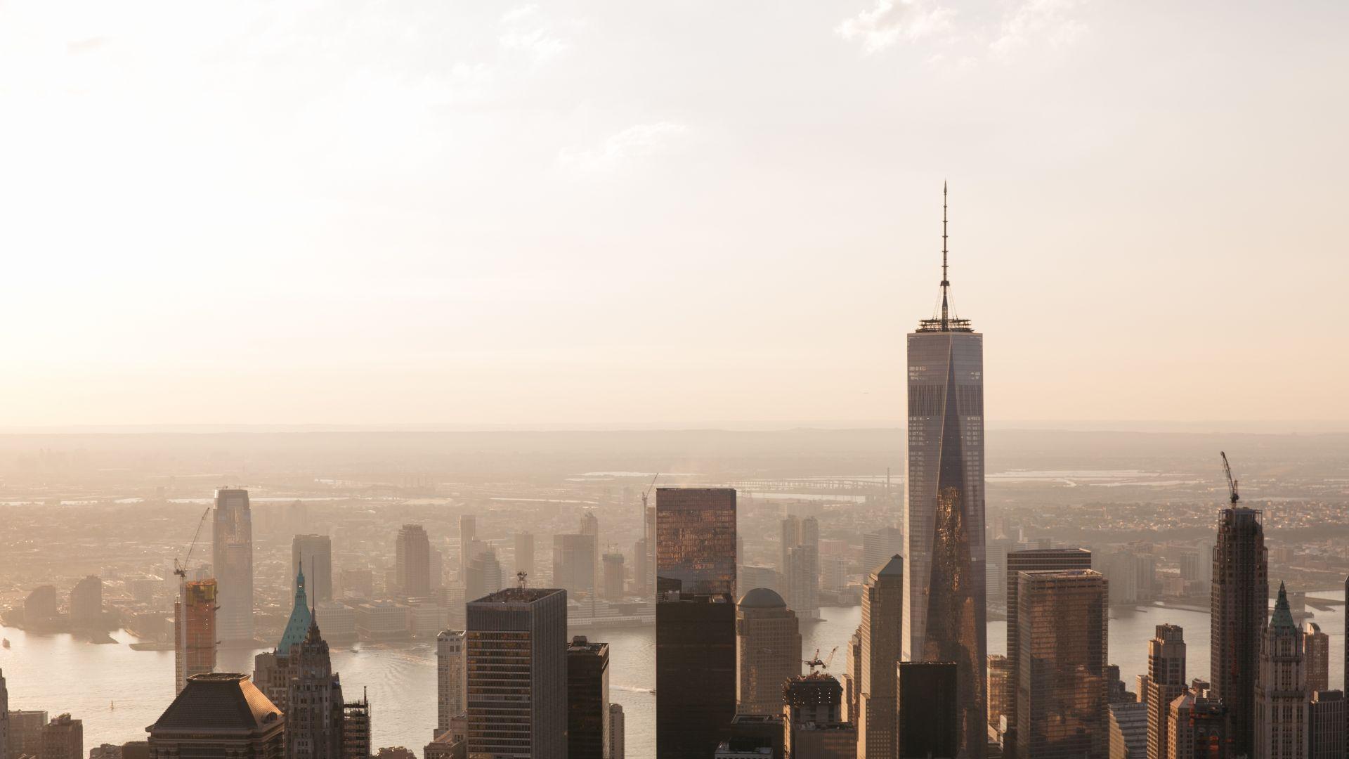 Wallpaper Manhattan, New York, city, buildings, Skyscrapers, aerial view