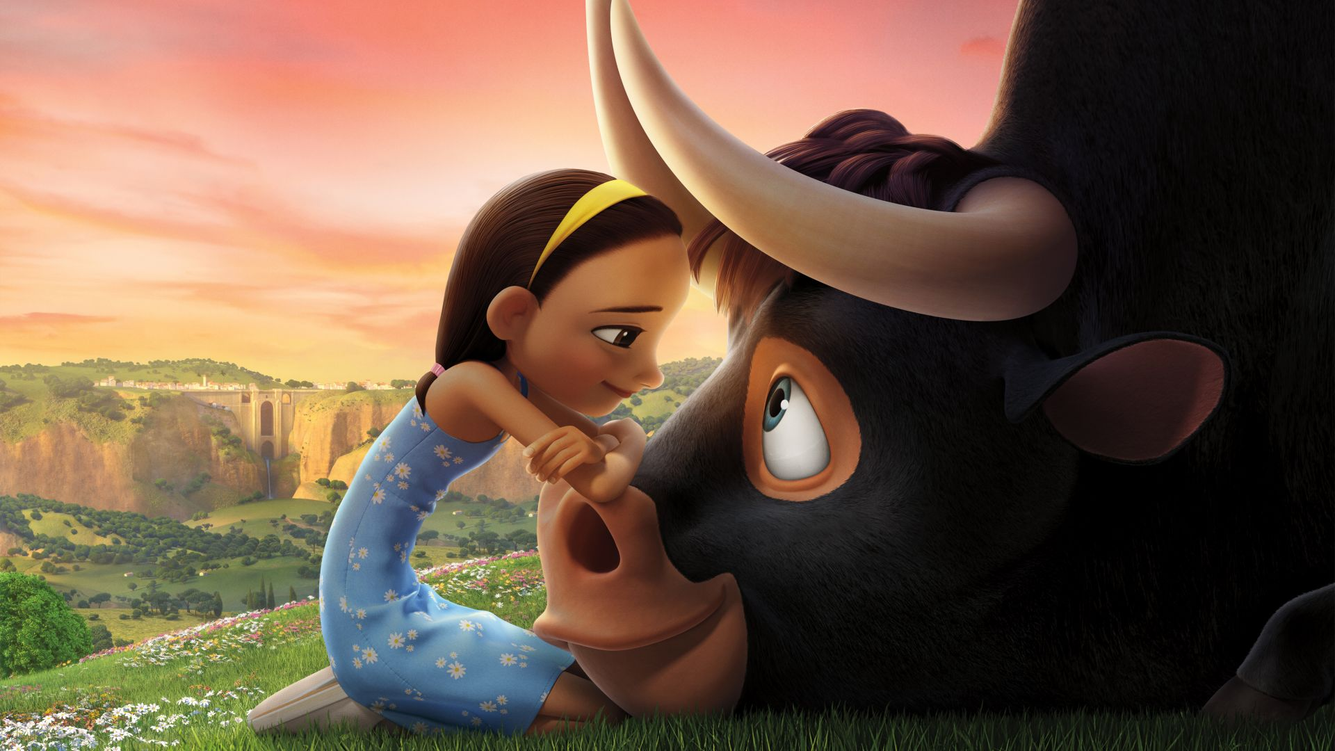 Wallpaper Ferdinand, girl and bull, animation movie