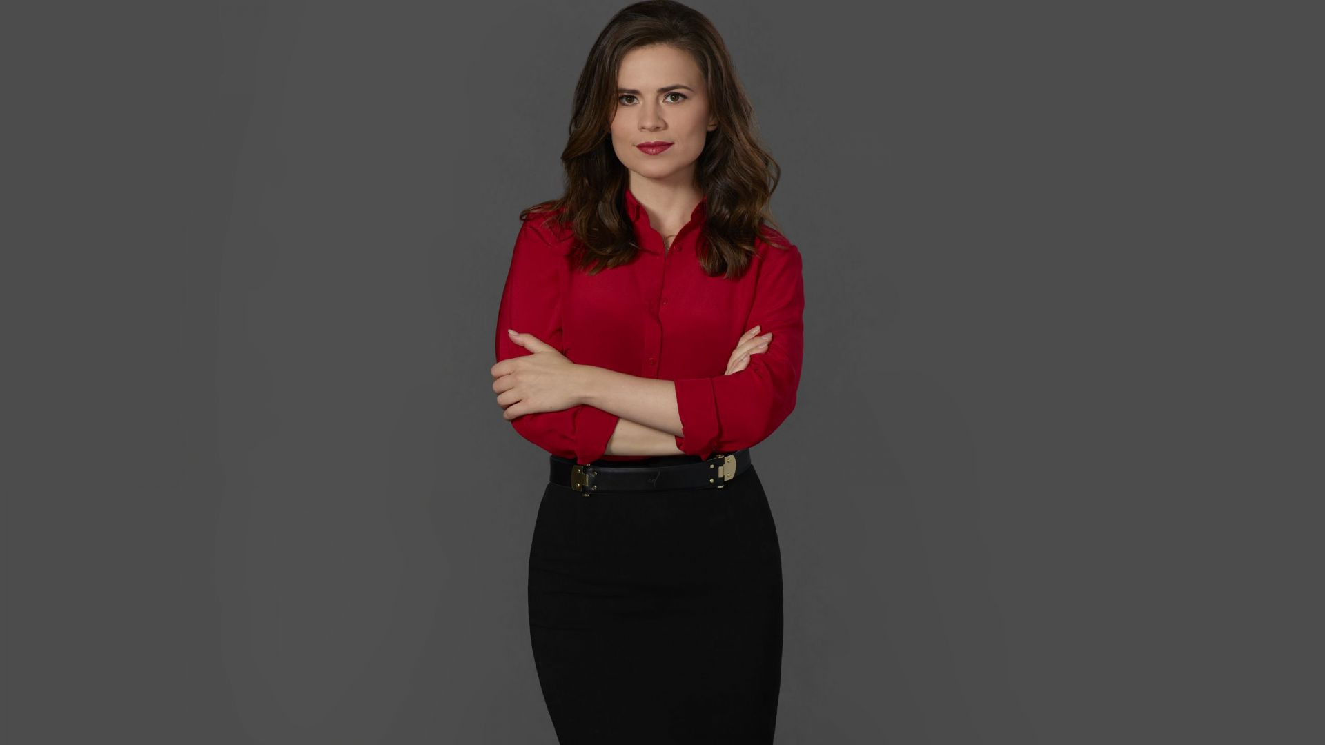 Wallpaper Hayley Atwell, celebrity, red shirt