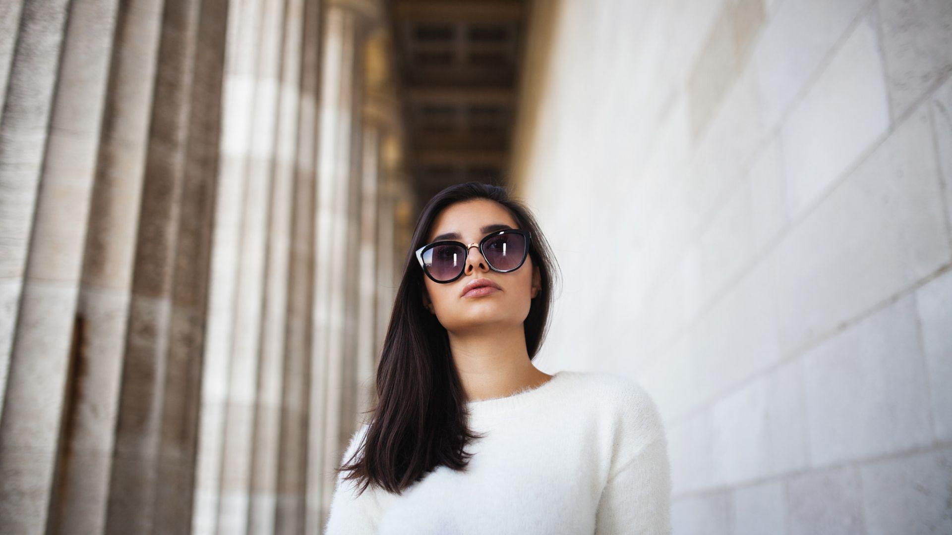 Wallpaper Sunglasses, girl model, white dress