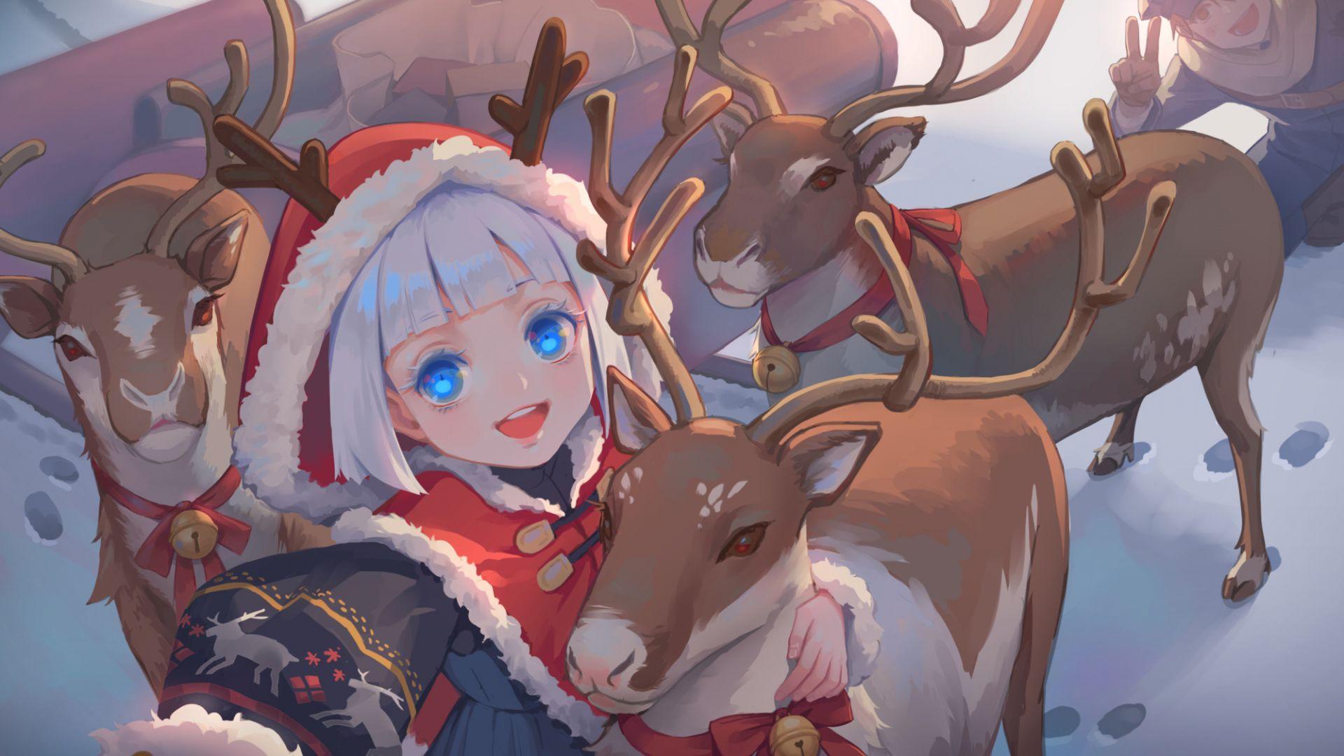 Wallpaper Santa, anime girl, reindeer, christmas, holiday