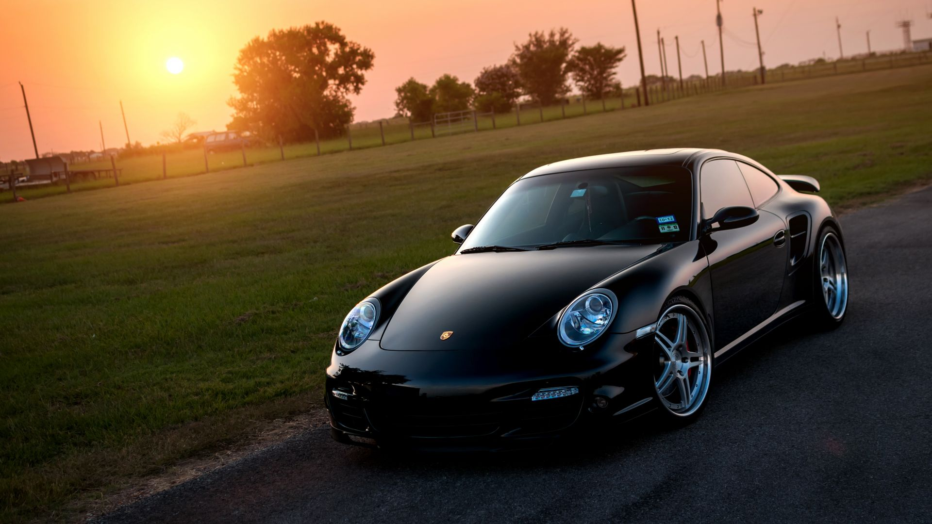 Wallpaper Porsche Boxster, black, sports car, sunset, landscape
