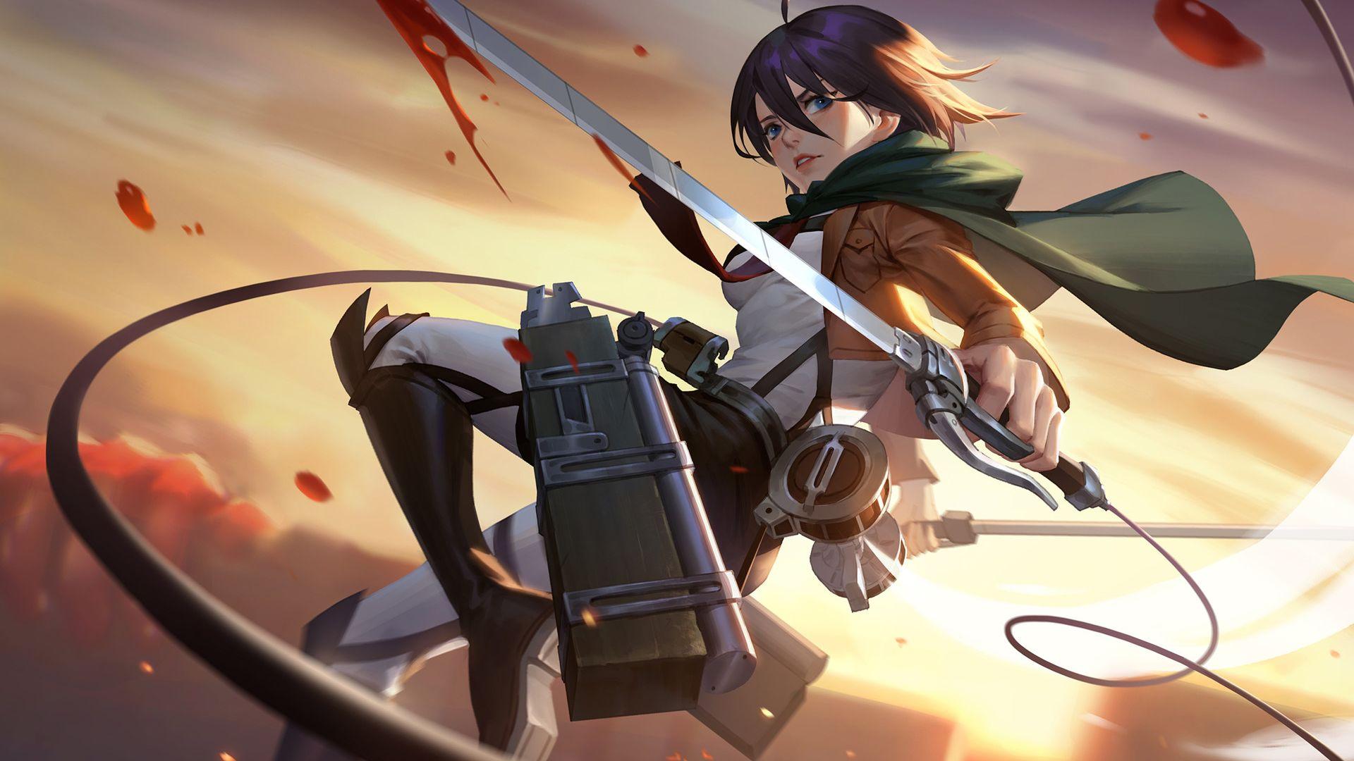 Wallpaper Mikasa Ackerman, Attack on Titan, art, anime girl